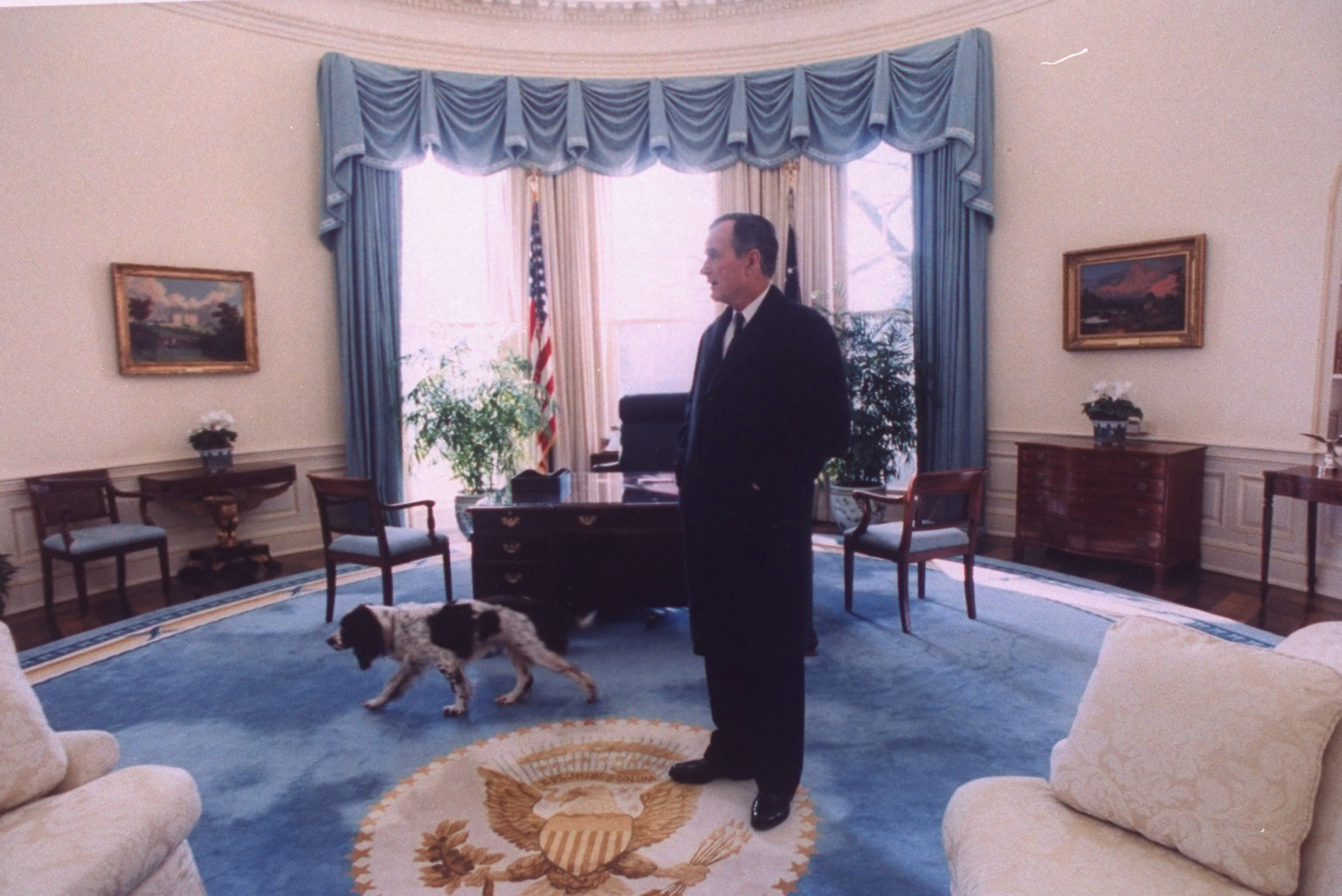 President George H.W. Bush taking a last look around the Oval Office with his dog Ranger, before vacating the White House to incoming president Bill Clinton in Washington on January 2, 1993.