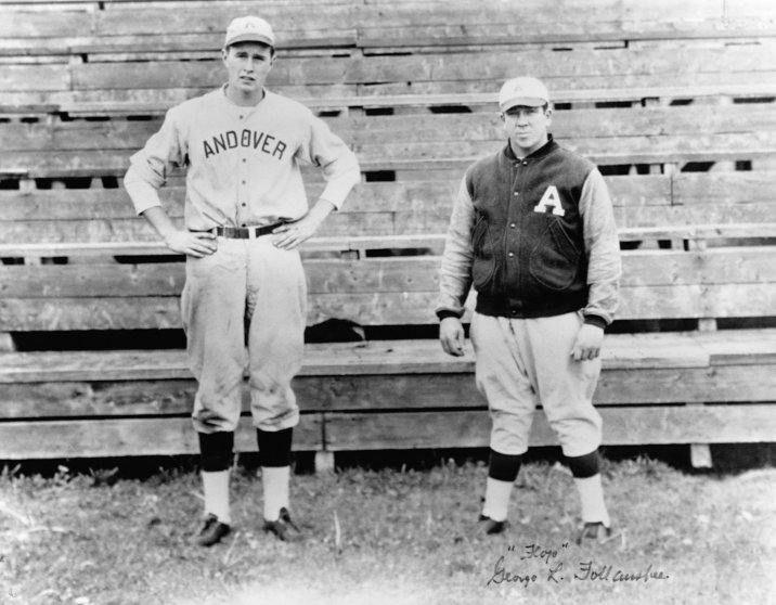 A portrait of an adolescent George H.W. Bush and a teammate in their baseball uniforms. Bush was the captain of the baseball team at Phillips Academy, where he attended from 1937 to 1942.