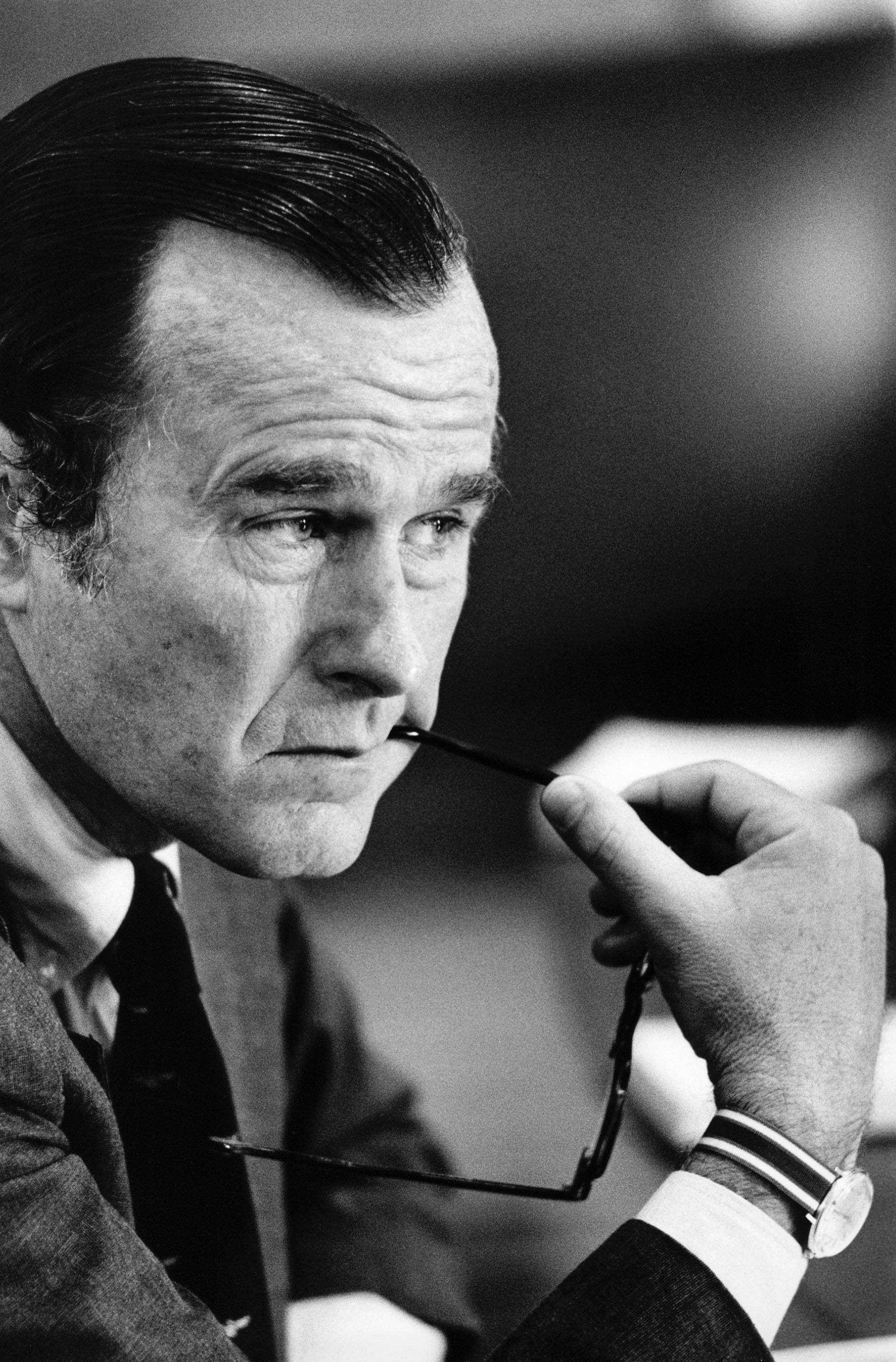 George H.W. Bush, director of the U.S. Central Intelligence Agency, attends a Cabinet meeting in Washington in 1976.