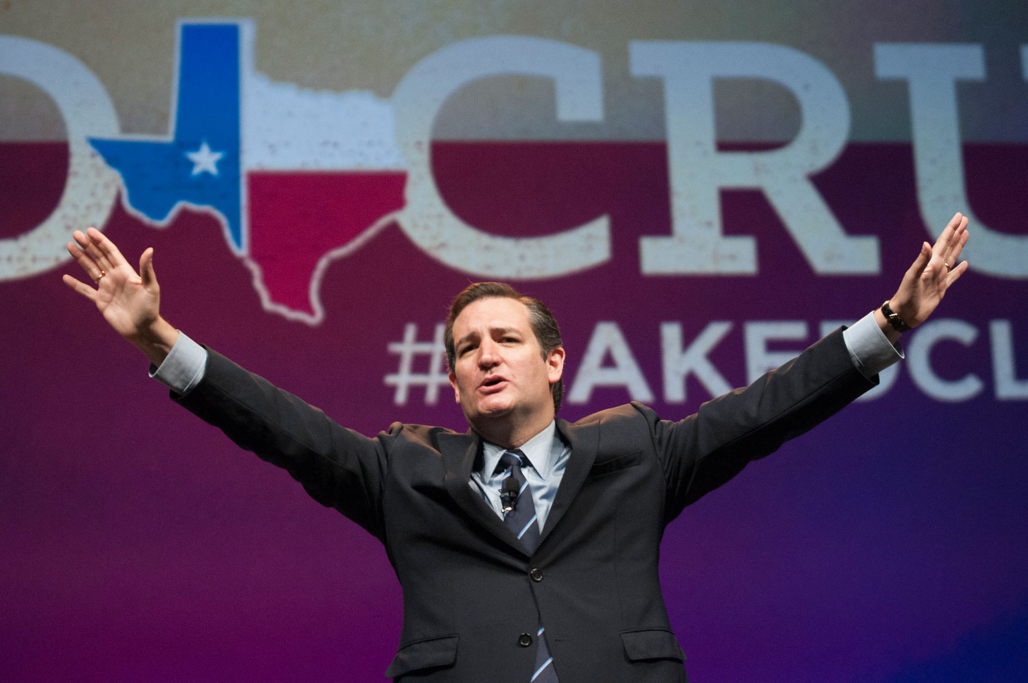U.S. Sen. Ted Cruz address delegates at the Texas GOP Convention in Fort Worth, Texas, June 6, 2014.