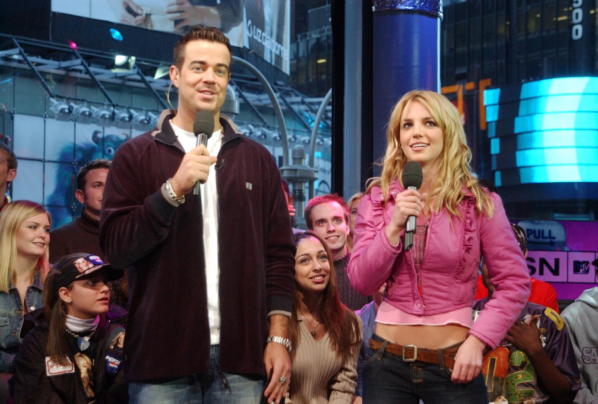 Carson Daly & Britney Spears on TRL in New York City, Nov. 6, 2001.