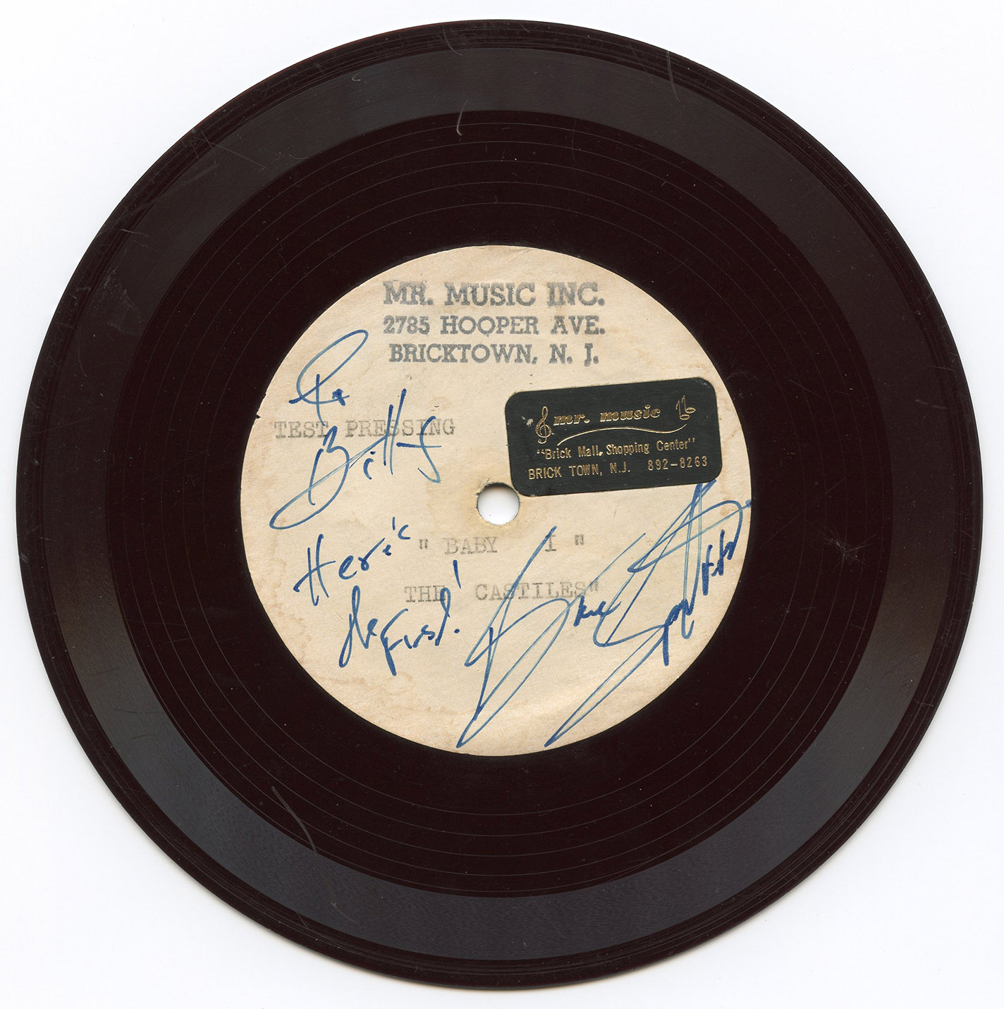 A record from Springsteen's first band, the Castiles, featuring the songs  Baby I  and  That's What You Get.  The songs were recorded in a shopping mall in Brick, N.J., on May 18, 1966.  The story goes that the songs were actually composed by Bruce and fellow band member George Theiss in the car on the way to the session,  Crane says. Only four copies are known to exist. This copy was displayed at the Rock and Roll Hall of Fame.