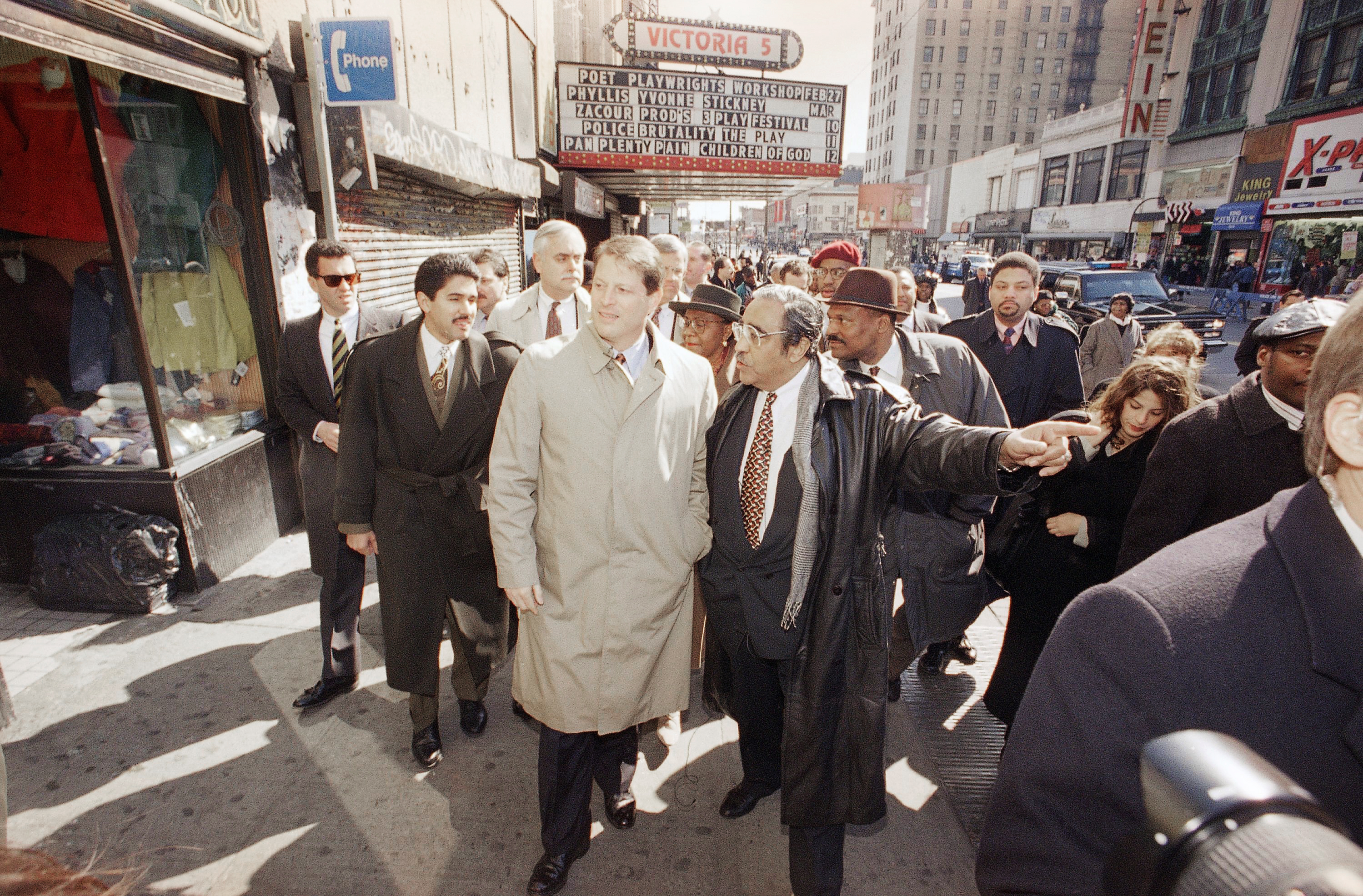 Rep. Charles Rangel, D-N.Y., right, walks with U.S. Vice President Al Gore during a tour of an Empowerment Zone in the Harlem neighborhood of New York City, March 3, 1995.
