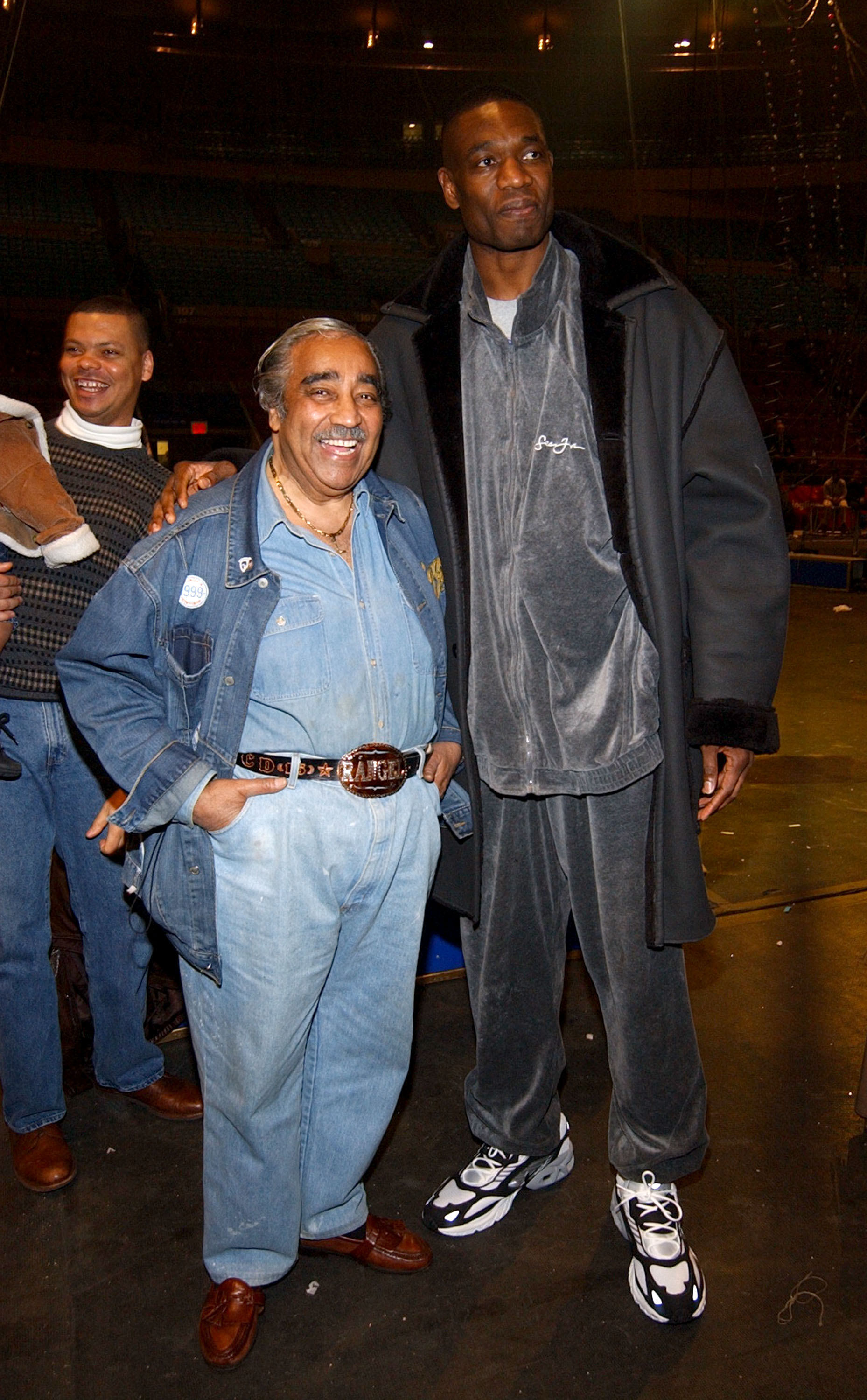 Congressman Charles Rangel and basketball star Dikembe Mutombo during Ringling Bros. and Barnum & Bailey: The 134th Edition of The Greatest Show On Earth at Madison Square Garden in New York City on March 20, 2004.