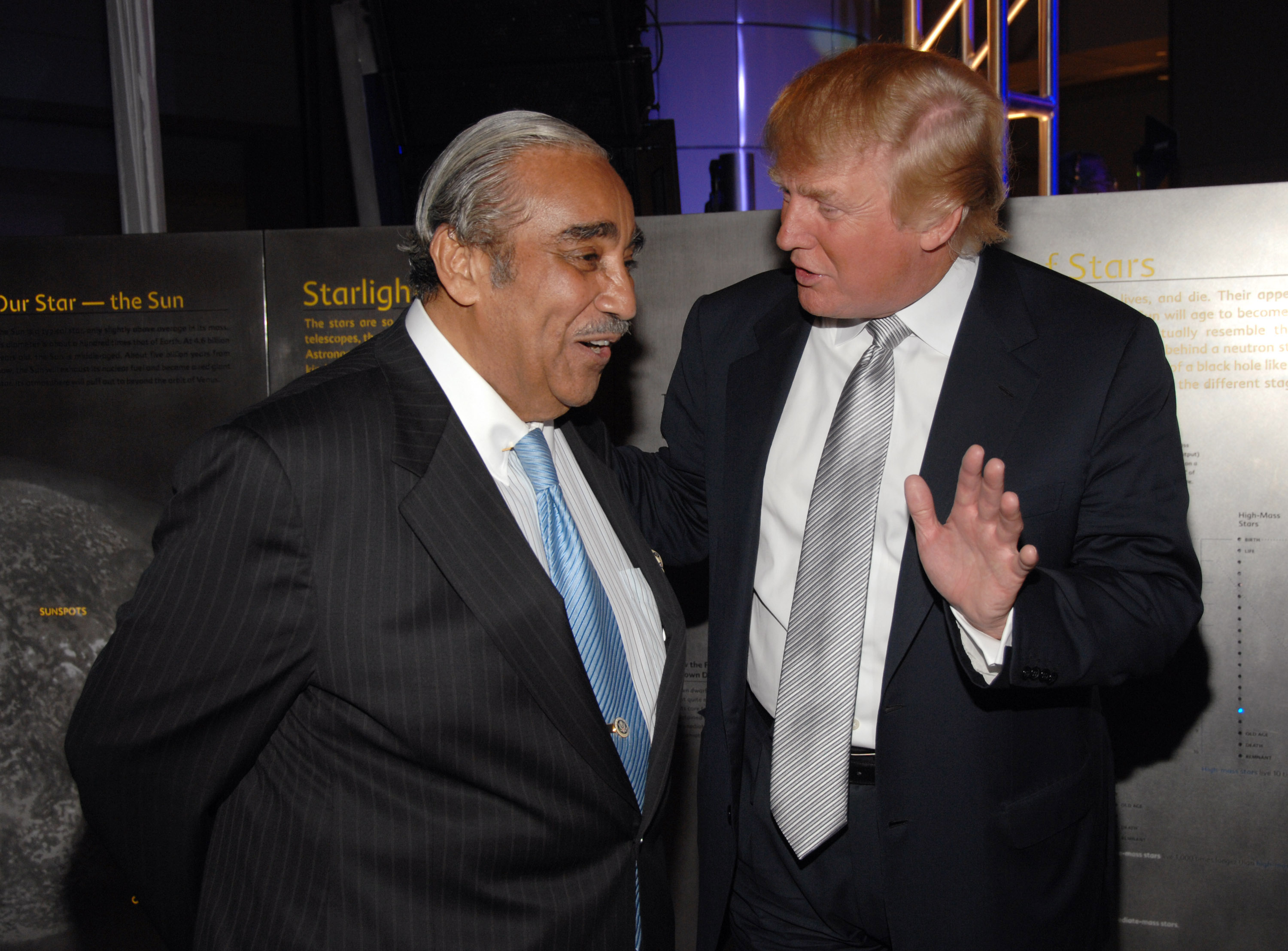 Congressman Charles Rangel and Donald Trump at Tony Bennett's 80th Birthday Party in New York City, August 3, 2006.