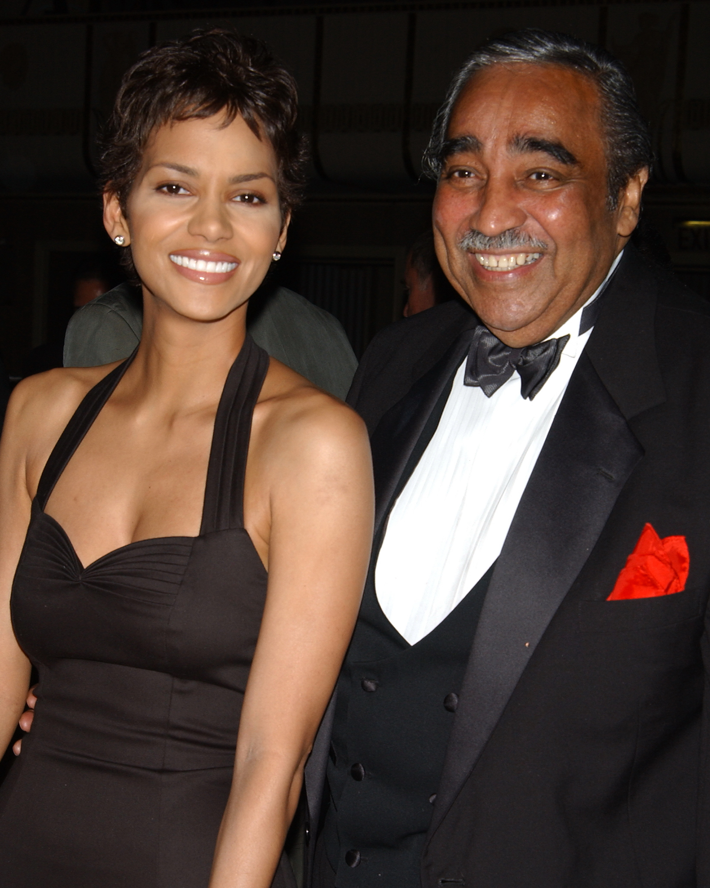 Halle Berry and Congressman Charles Rangel at the Directors Guild of America dinner at the Waldorf Astoria in New York City, June 9, 2002.