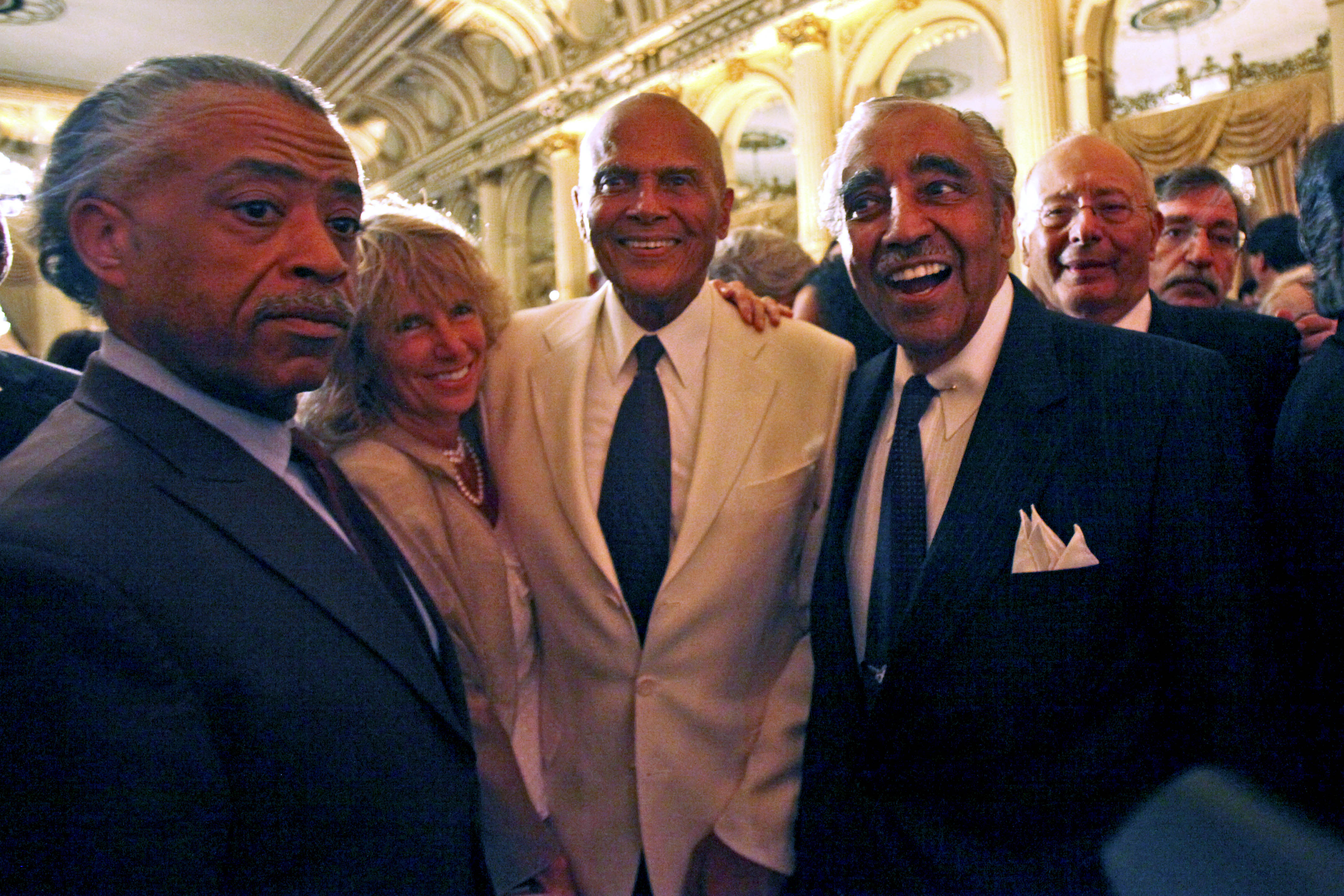 From left, the Rev. Al Sharpton, Pamela Belafonte, Harry Belafonte, Rep. Charles Rangel, D-N.Y., and former Sen. Alfonse D'Amato are photographed together during Rangel's birthday fundraiser at the Plaza Hotel in New York City, Aug. 11, 2010.