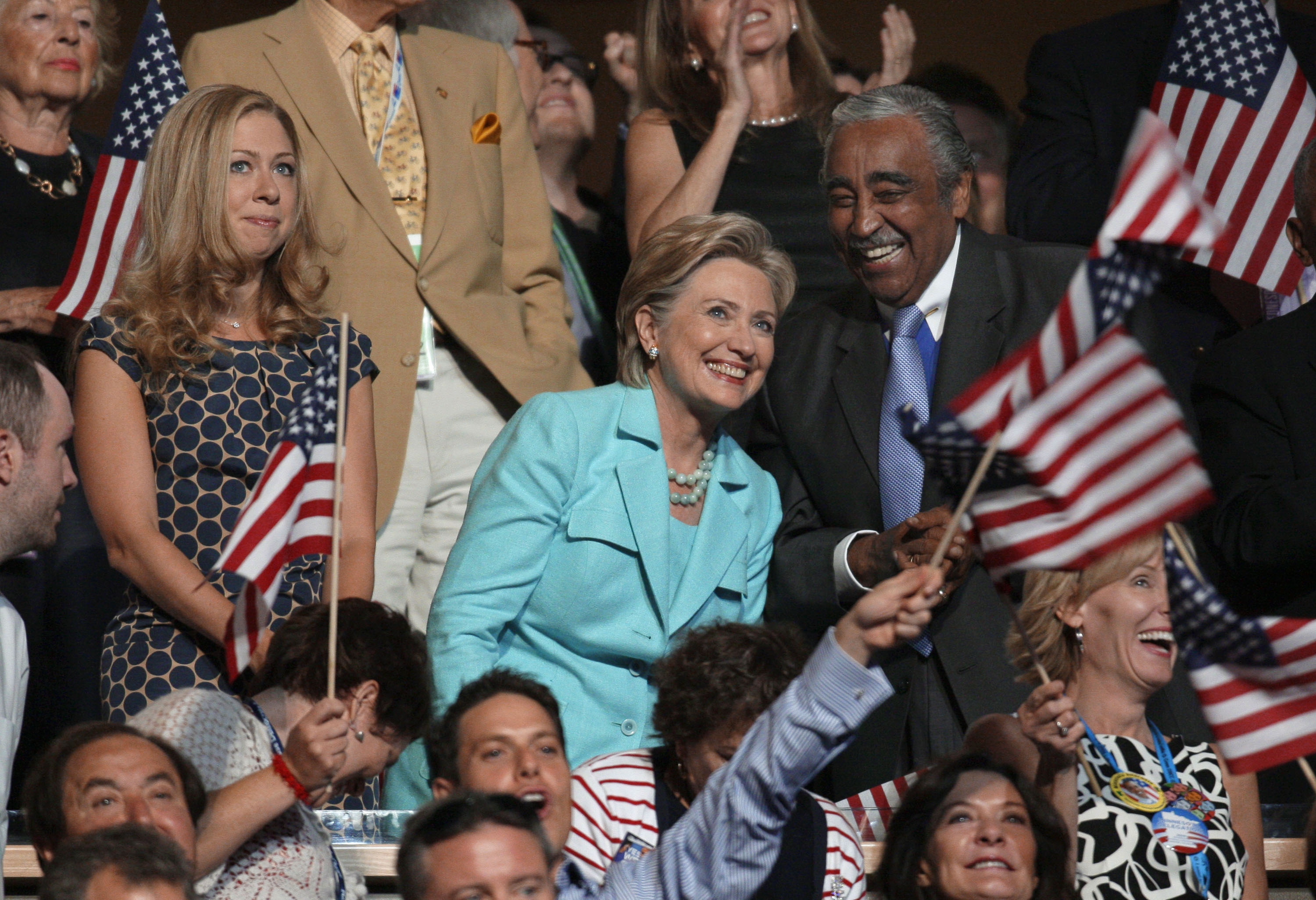 Sen. Hillary Rodham Clinton, D-N.Y., is seen with Rep. Charles Rangel, D-N.Y., and her daughter Chelsea Clinton at the Democratic National Convention in Denver, Aug. 27, 2008.