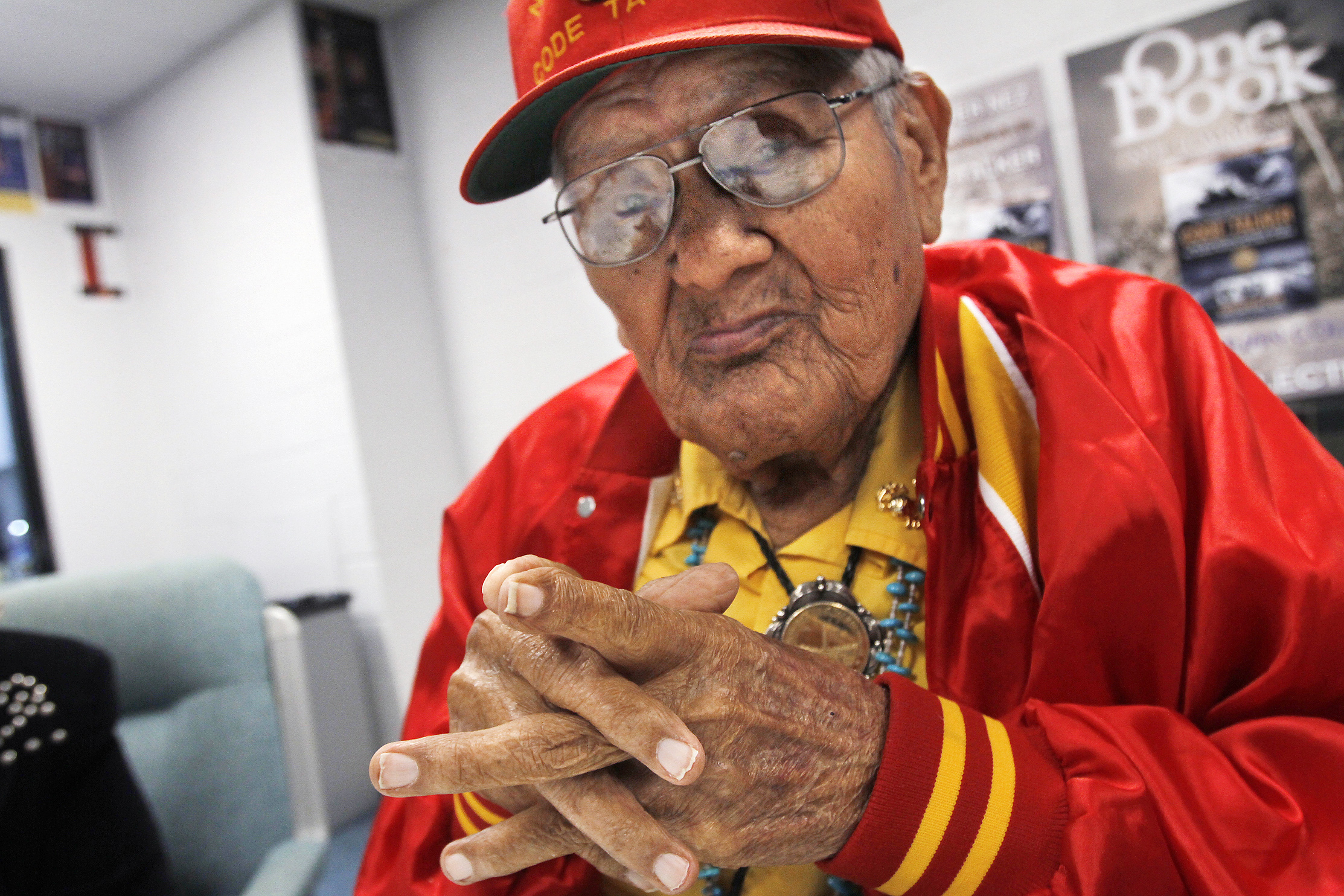 Navajo Code Talker Chester Nez waits backstage for a speaking engagement at the Henderson Fine Arts Center at San Juan College in Farmington N.M. on Nov. 1, 2012.
