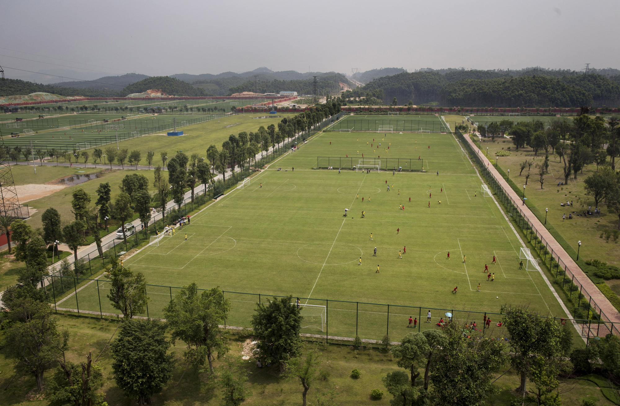 A view of some of the 50 soccer fields.