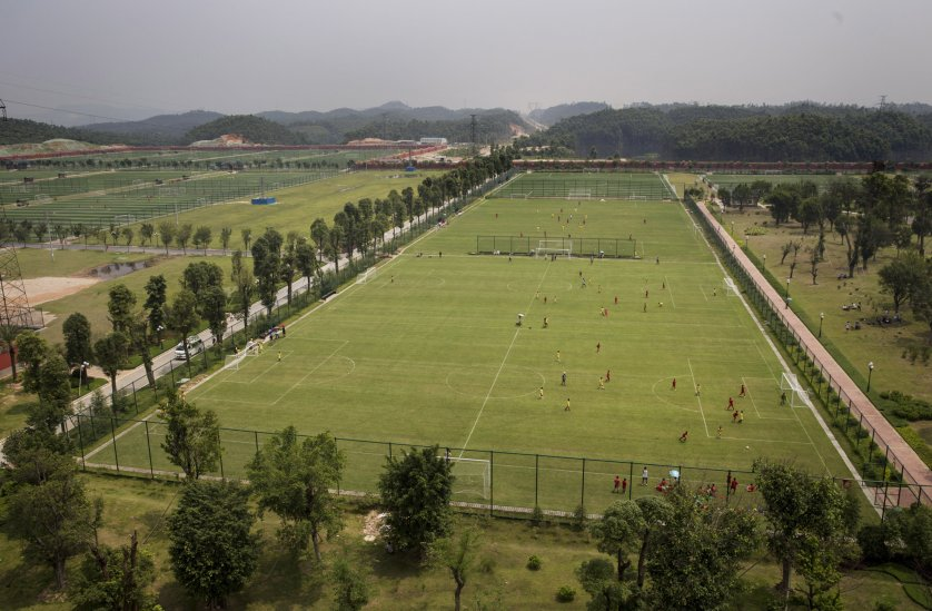 A view of some of the 50 pitches at the at the Evergrande International Football School on June 14 near Qingyuan in Guangdong Province.