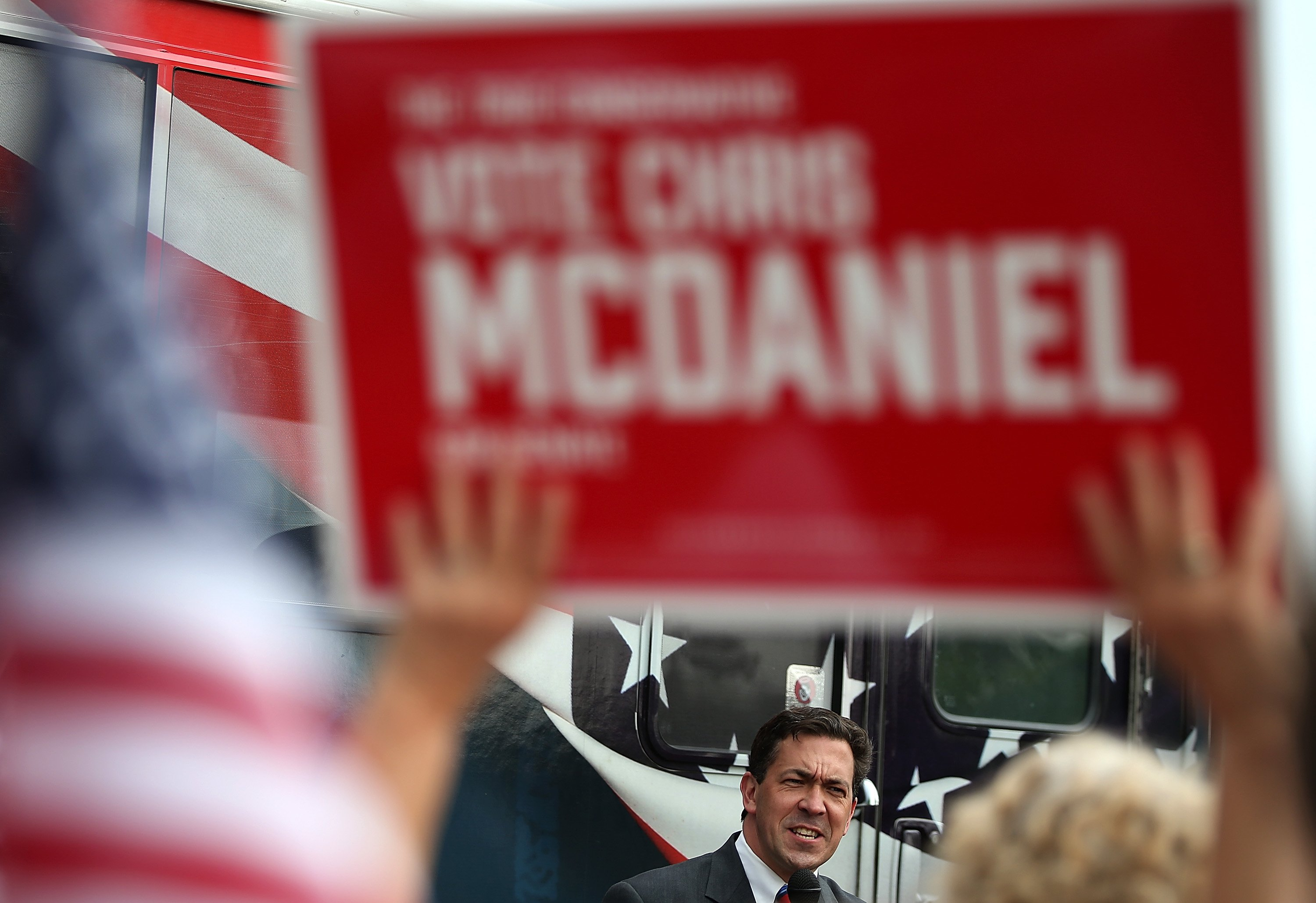 Republican candidate for U.S. Senate, Mississippi State Sen. Chris McDaniel speaks during a campaign rally on June 23, 2014 in Flowood, Miss.