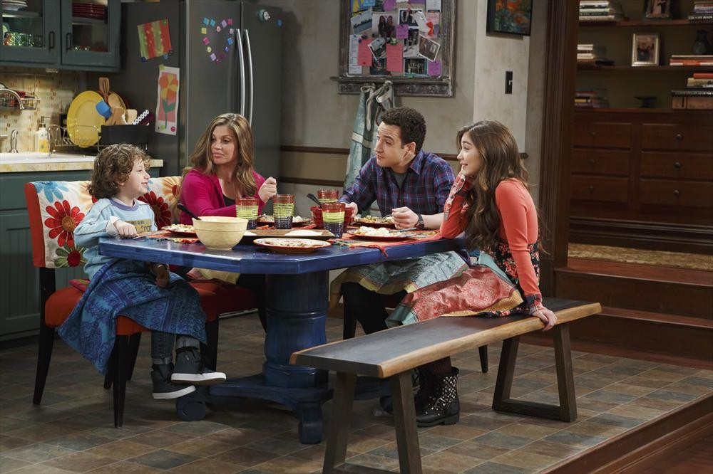 Topanga (Danielle Fishel) and Cory (Ben Savage) with their children Auggie (August Maturo) and Riley (Rowan Blanchard).