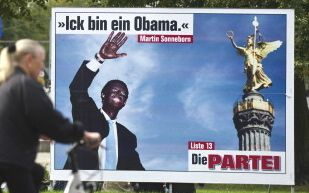 The satyrical  Die Partei  (The Party) party featuring candidate Martin Sonneborn made to look like US President Barack Obama, in Berlin September 16, 2011, ahead of regional elections.