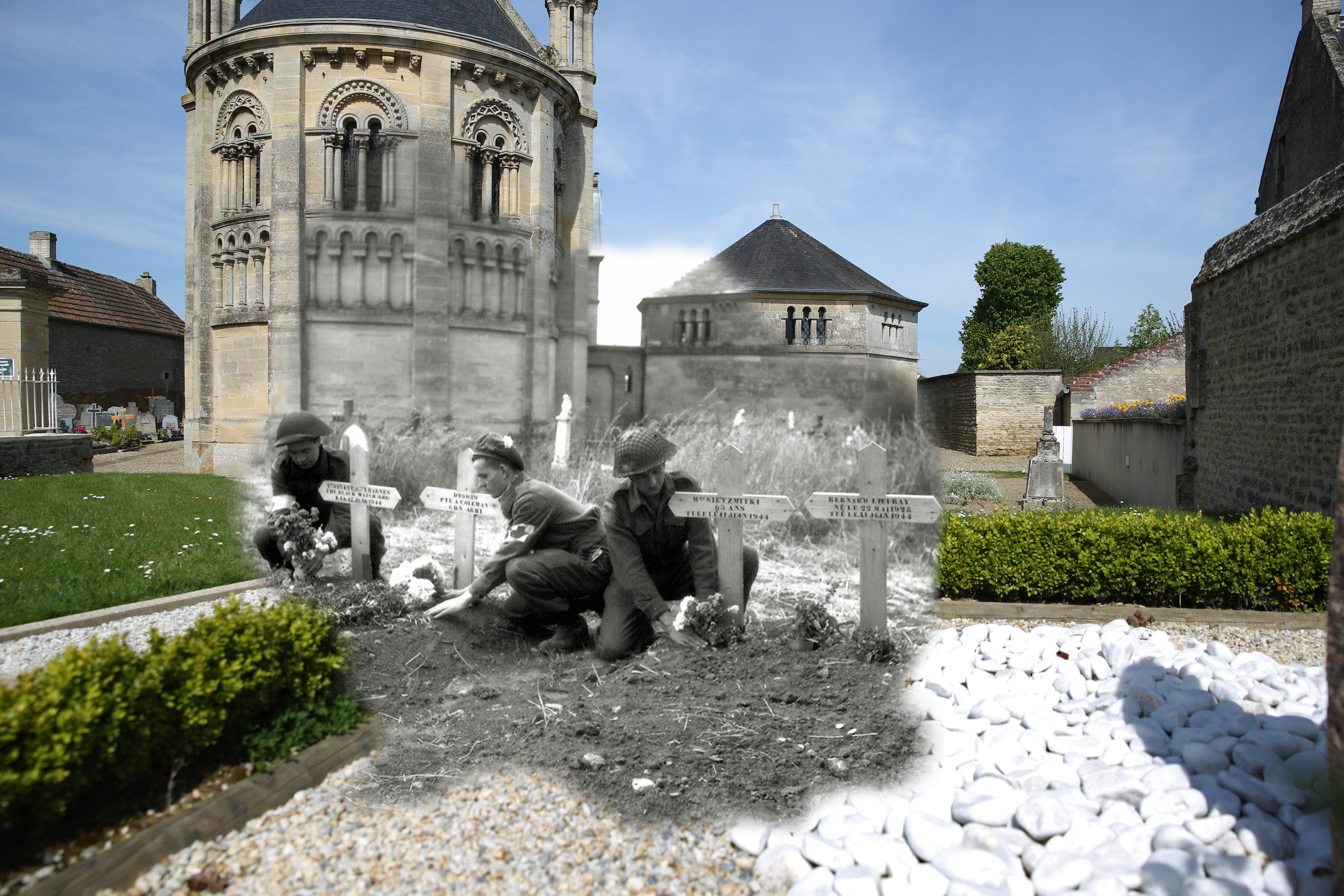 A view of the graveyard with the church of Saint Georges de Basly in the background on May 5, 2014 in Basly, France. Overlay: Three soldiers of the 23rd Field Ambulance of the 3rd Canadian Infantry Division place flowers on graves on June 1944.