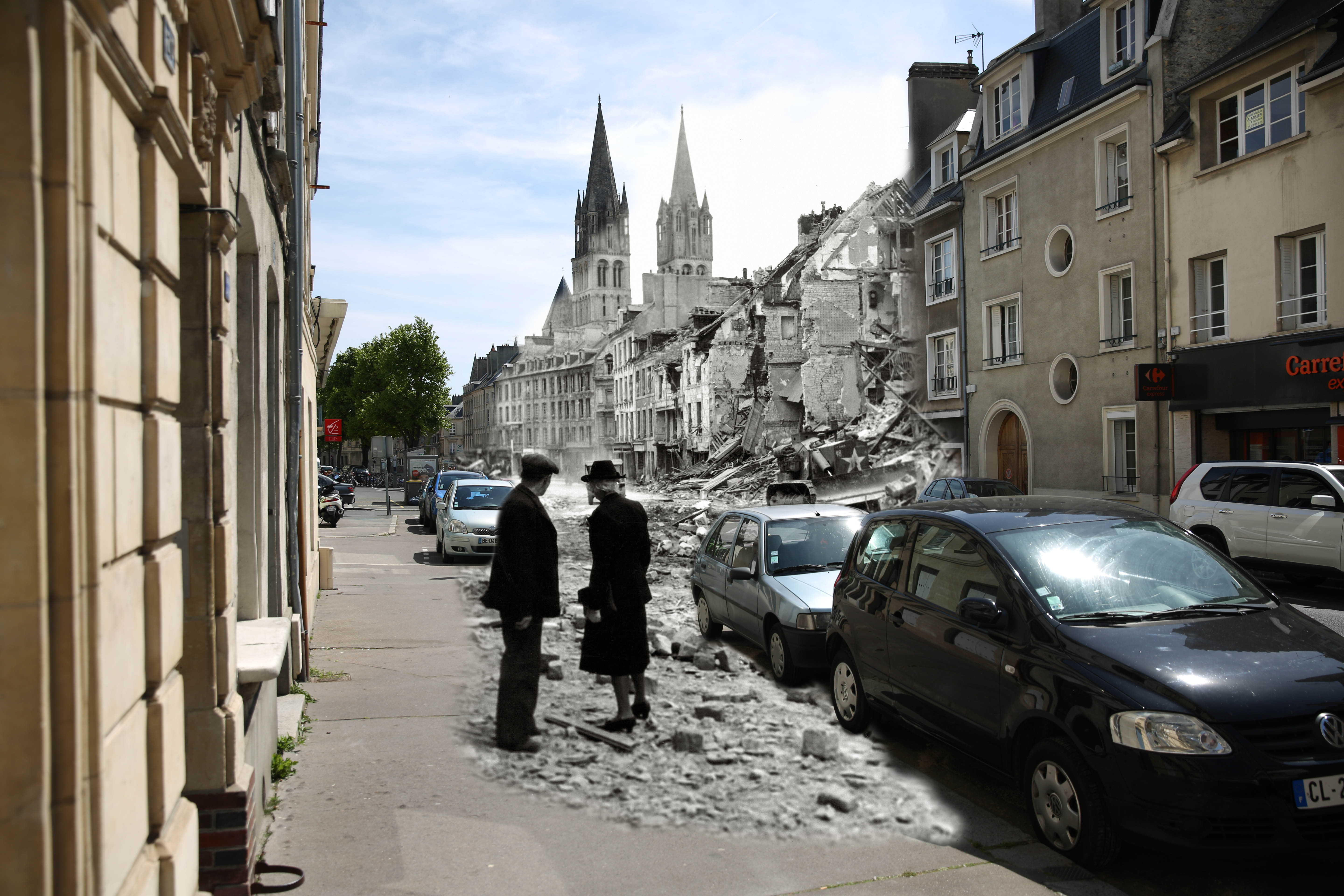 A view of the rue de Bayeux on May 5, 2014 in Caen, France. Overlay: An older couple watches a Canadian soldier with a bulldozer working in the ruins of a house in the rue de Bayeux on July 10, 1944.