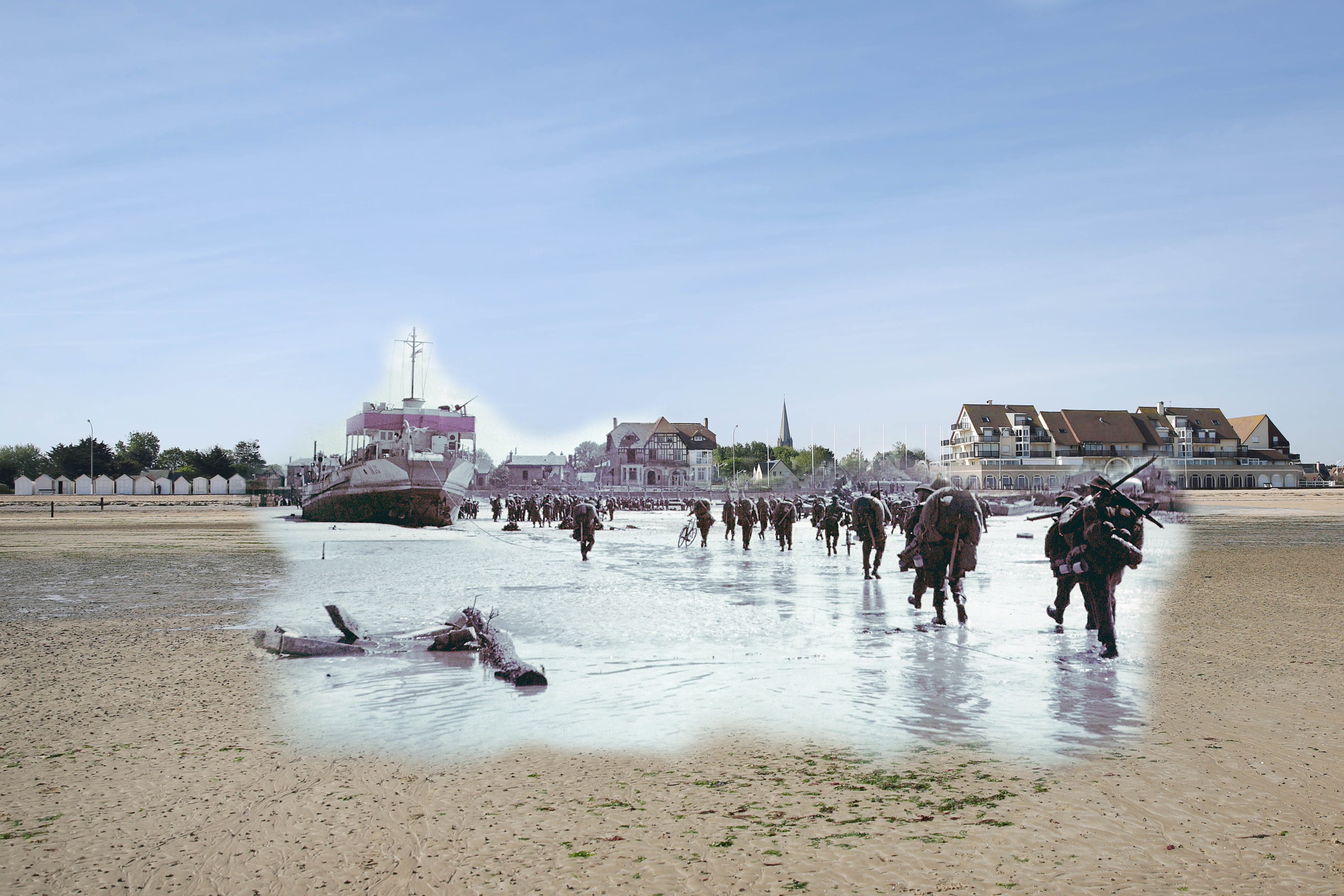 A view of the seafront and Juno beach on May 5, 2014 in Bernieres-sur-Mer, France. Overlay: Troops of the 3rd Canadian Infantry Division land at Juno Beach on the outskirts of Bernieres-sur-Mer on D-Day. June 6, 1944.