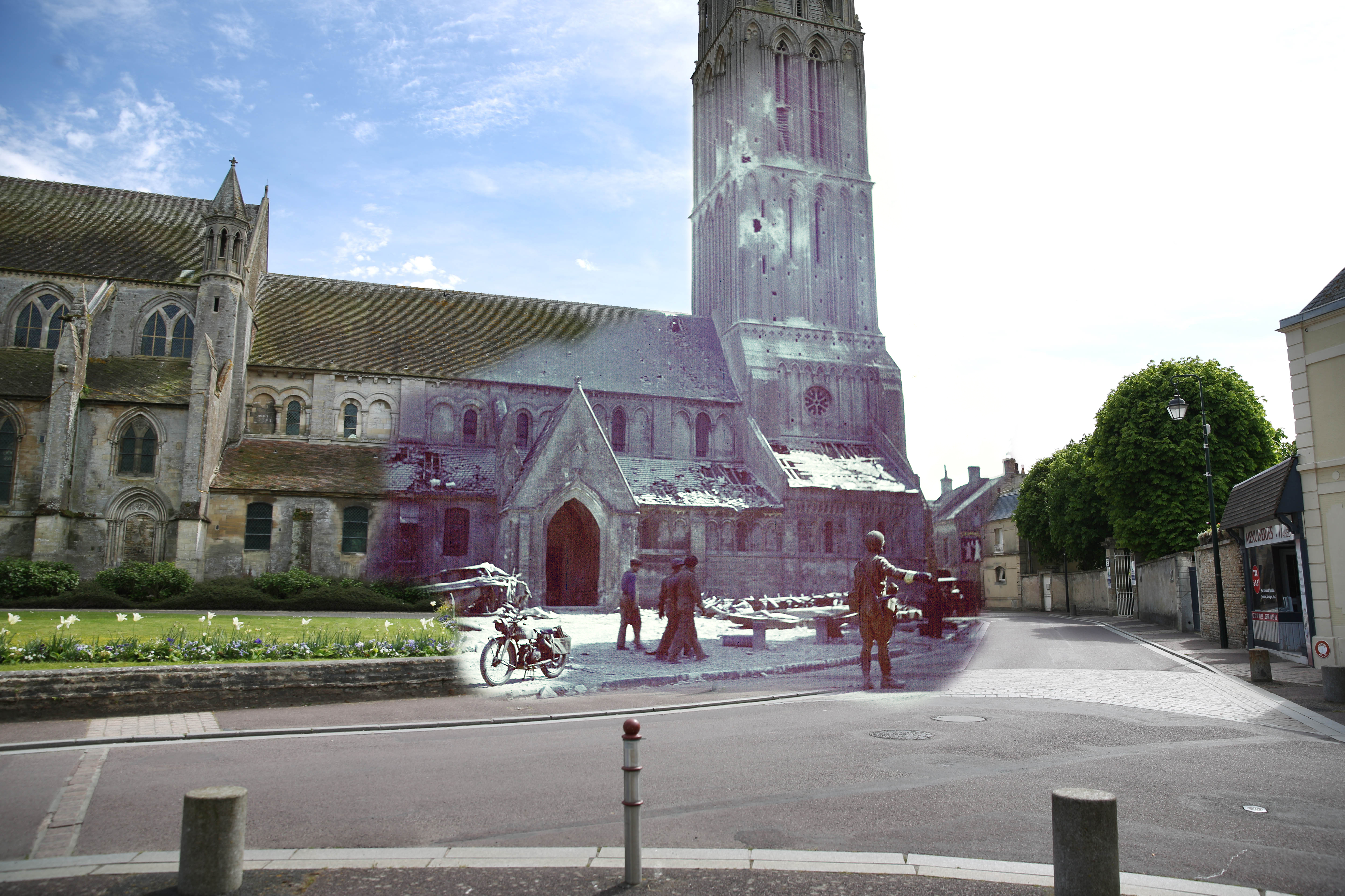 A view of the street area and Notre-Dame Nativity church on May 5, 2014 in Bernieres-sur-Mer, France. Overlay: A Canadian soldier directs traffic in Bernieres-sur-Mer on June 6, 1944.