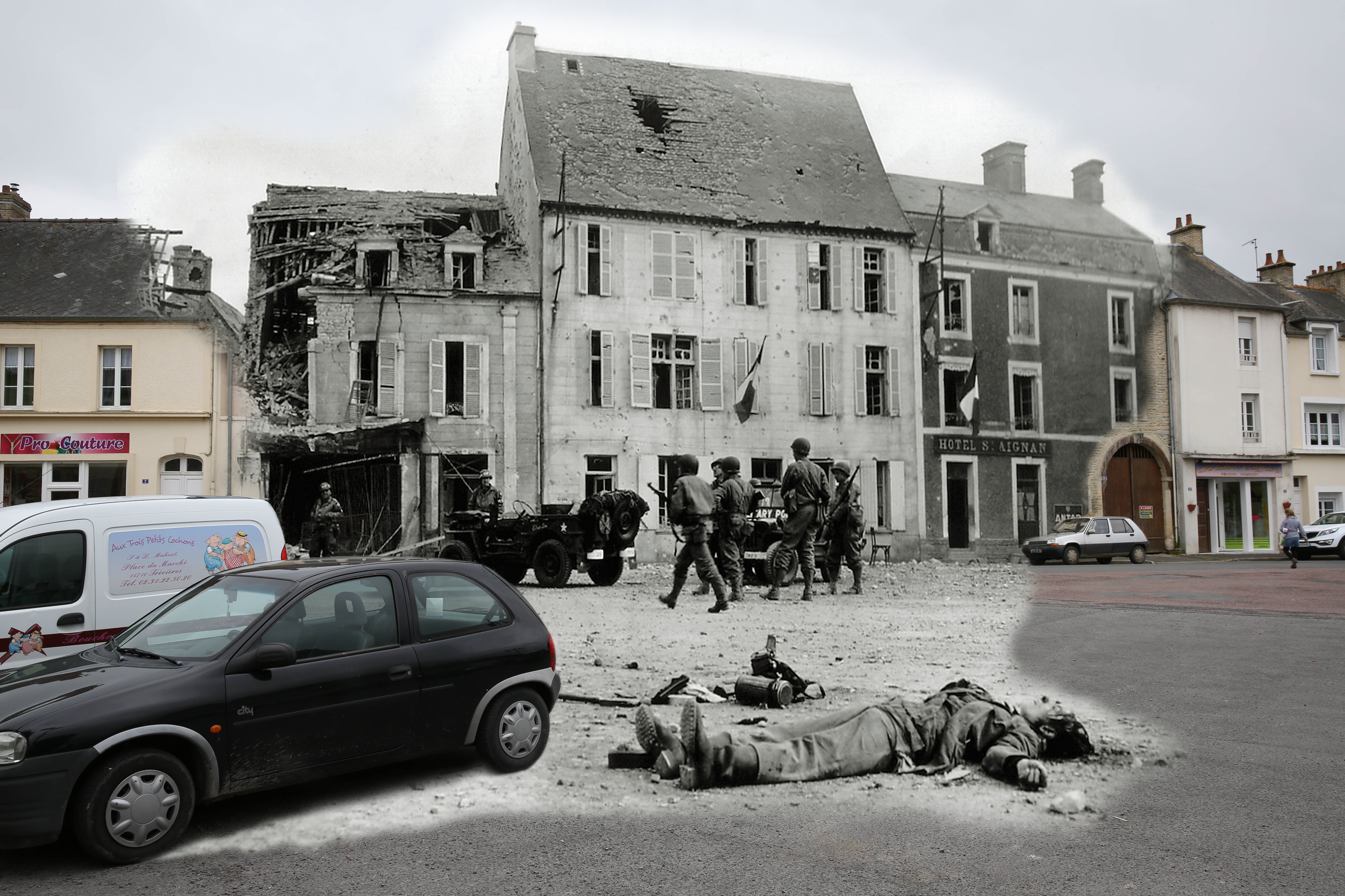A view of the market square on May 6, 2014 in Trevieres, France. Overlay: The body of a German soldier belonging to the 2nd Infanterie Regiment lies on the Market Square on  June 15, 1944.
