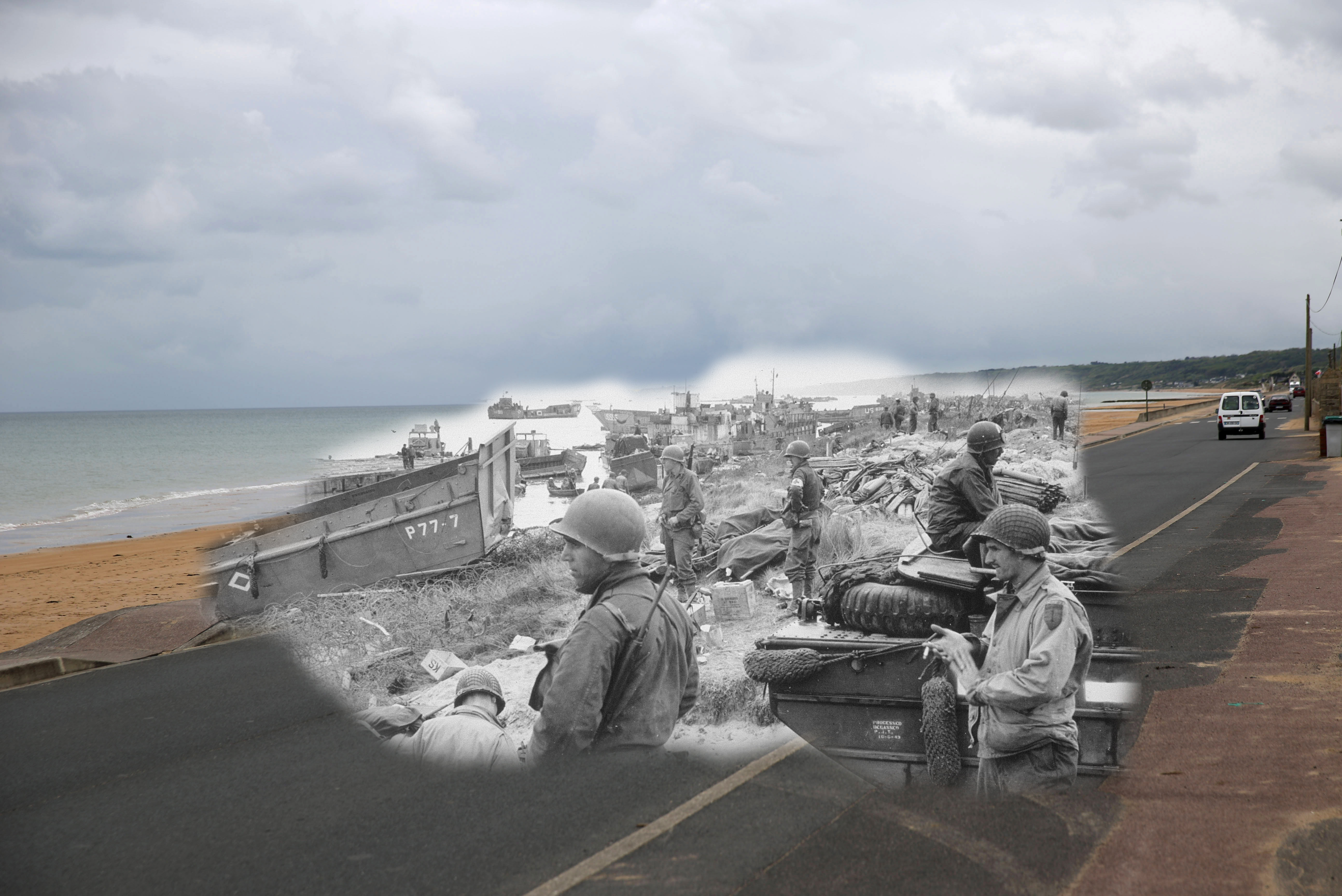 A view of Omaha Beach on May 6, 2014 near Vierville sur Mer, France. Overlay: American troops stand by with supplies on Omaha Beach after the D-day landings on June 1944.