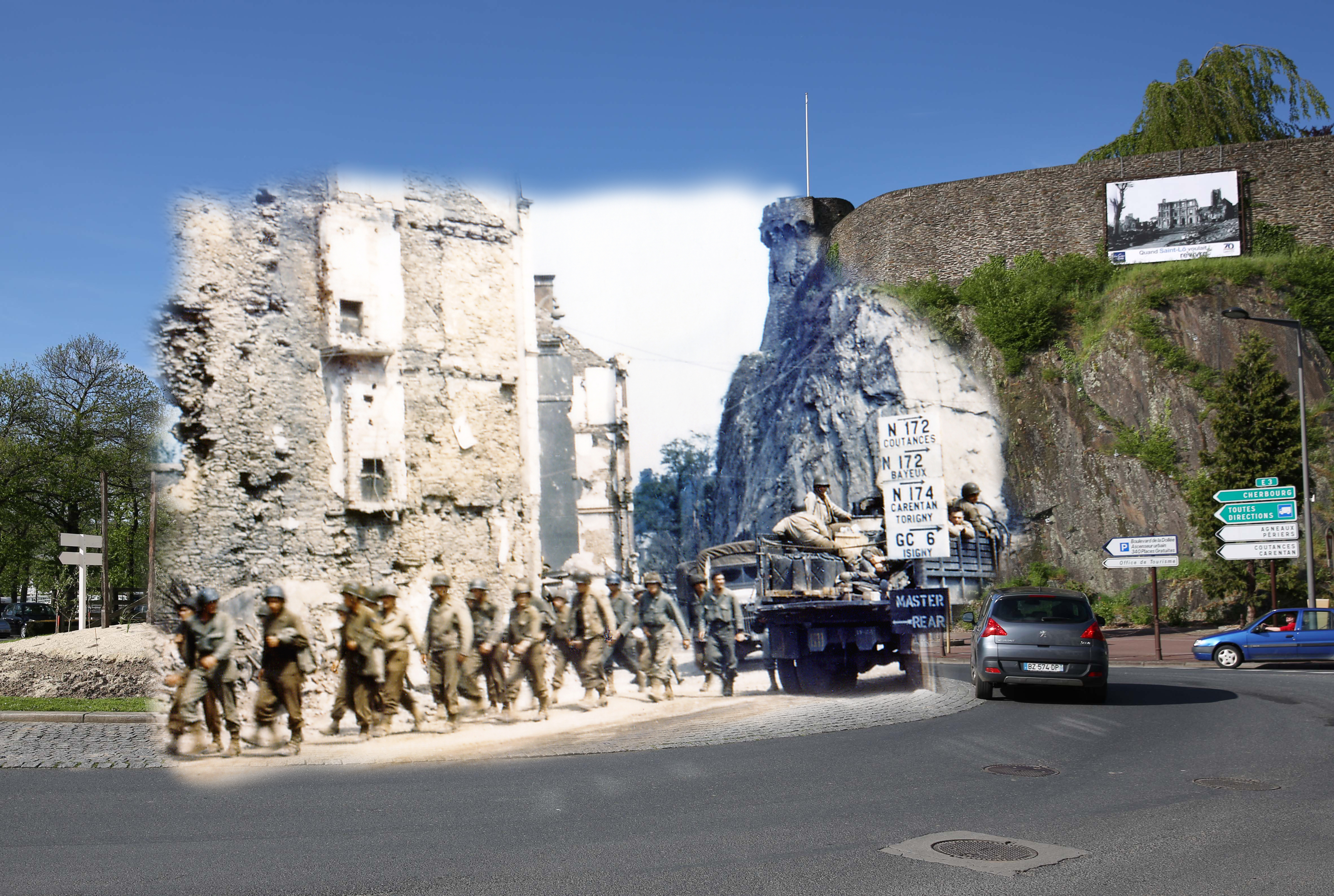 A view of the roadway on May 7, 2014 in Saint Lo, France. Overlay: United States Army trucks and jeeps are driving through the ruins of Saint Lo on July 1944.