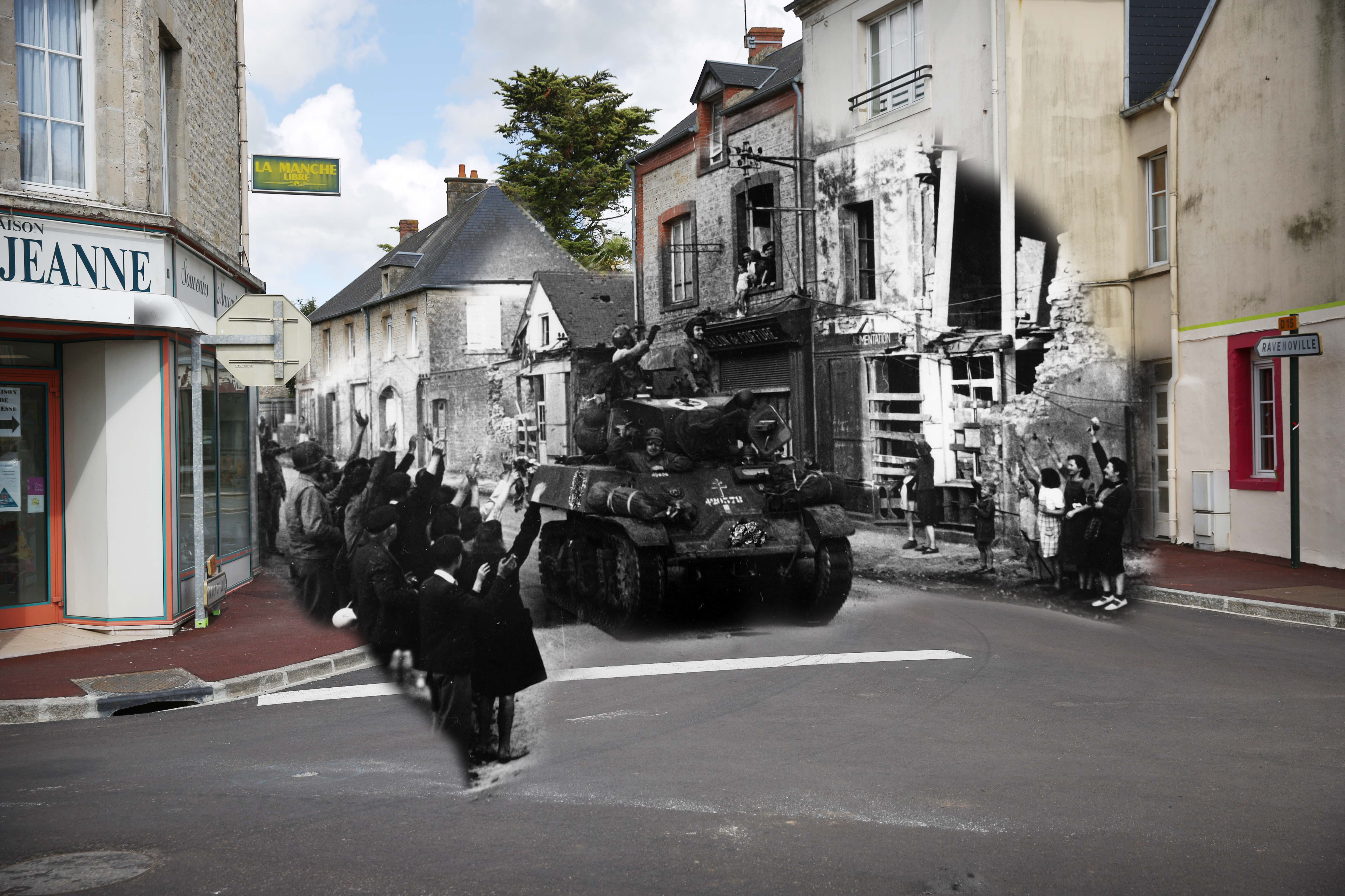 A view of the high street on May 7, 2014 in Sainte Mere Eglise, France. A French armored column passing through the small French town of St Mere Eglise on D-Day, gets a warm welcome from the inhabitants on June 6, 1944.