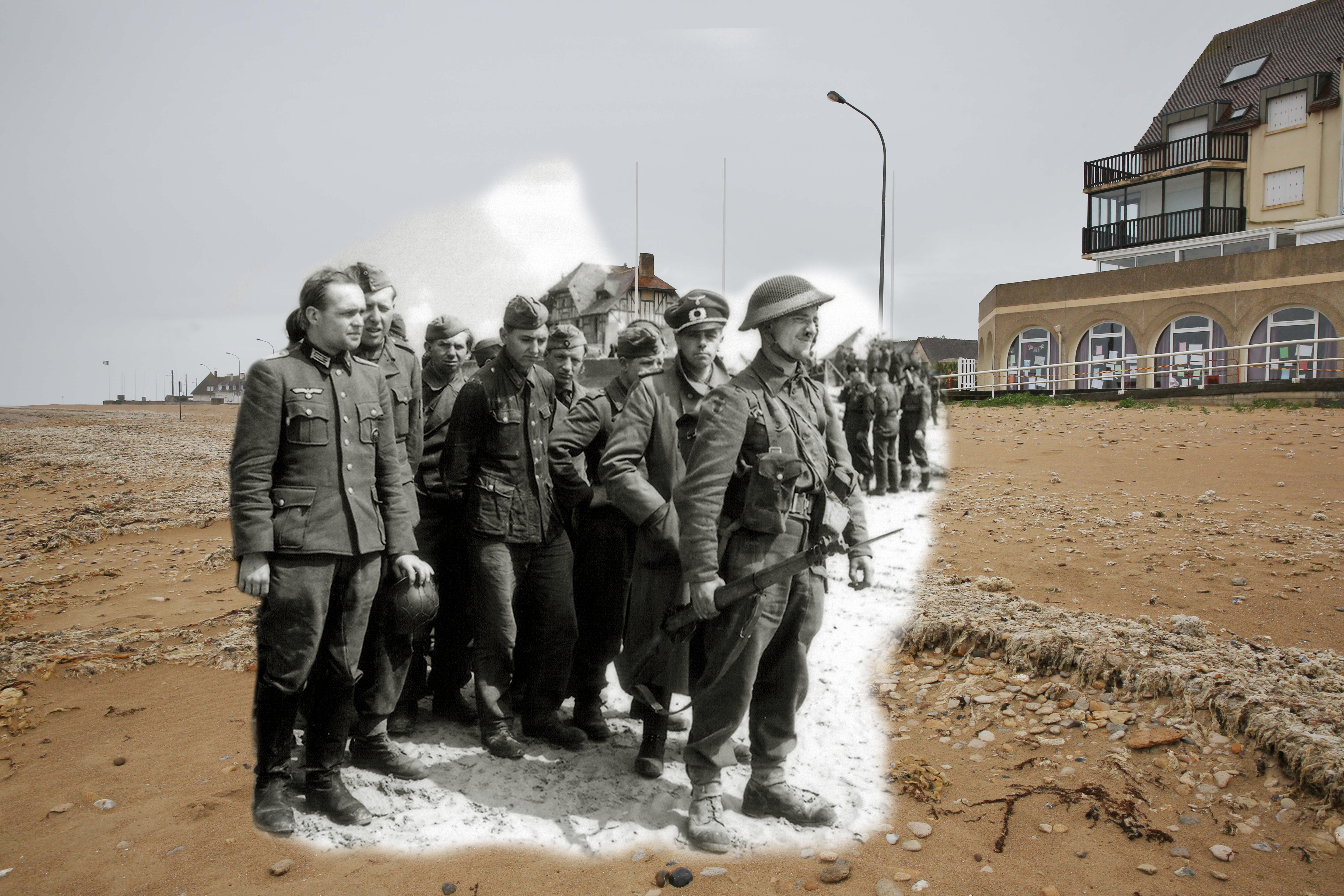 A view of Juno Beach on May 8, 2014 in Bernieres sur Mer, France. Overlay: A large number of German prisoners are gathered on the beach of Bernières-sur-Mer on June 1944. They are guarded by British soldiers from the 2nd Army on Juno Beach.