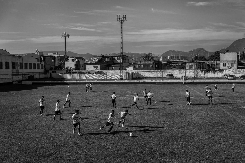 Soccer players of the Sao Cristovao soccer team are seen in Rio de Janeiro.