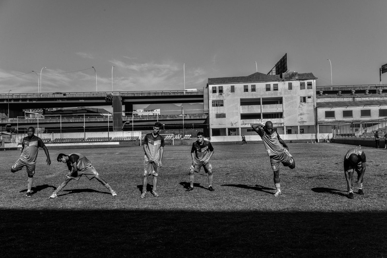 Soccer players of the Sao Cristovao soccer team are seen training in Rio de Janeiro.
