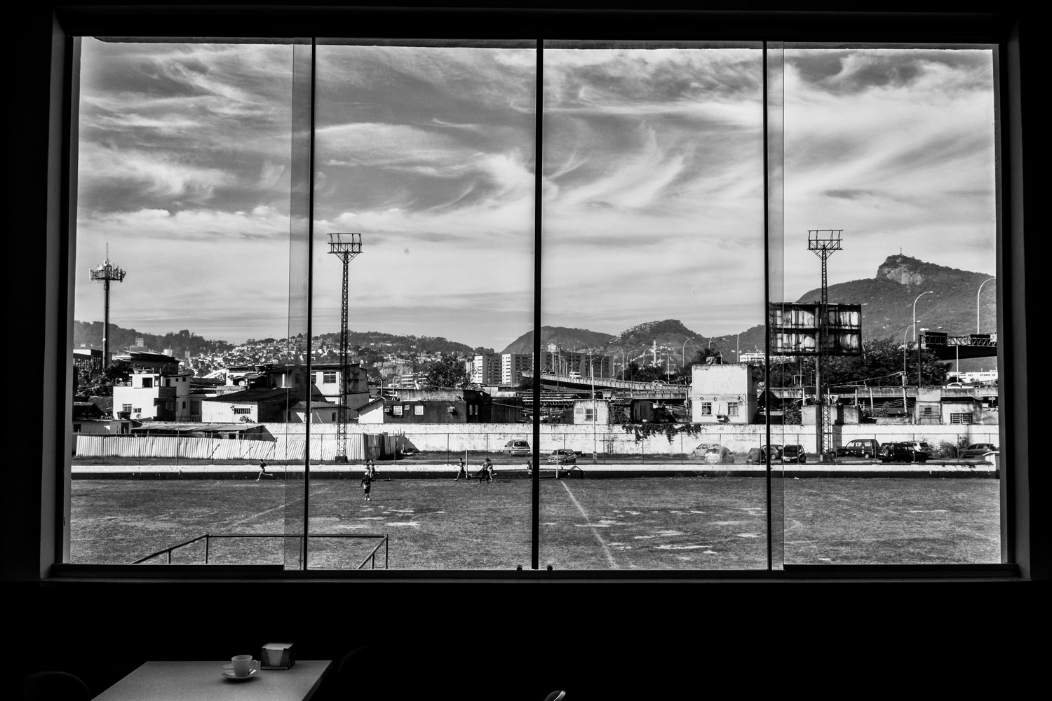 A view of the Sao Cristovao soccer team stadium view from the club president's office.