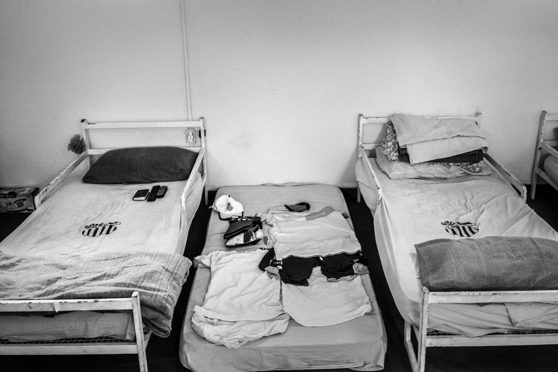 Communal rooms where Sao Cristovao soccer players sleep after training.