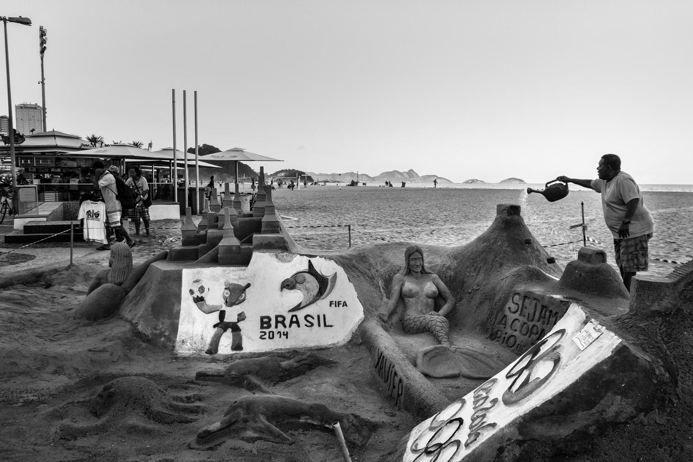 A World Cup sculpture at Copacabana Beach, Rio de Janeiro.