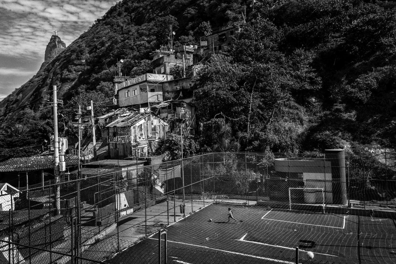 Children play soccer in the favela of Santa Marta near near Rio de Janeiro's downtown.