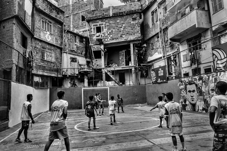 Children training in the soccer school for favela kids in Tavares Bastos favela near Rio de Janeiro's downtown.