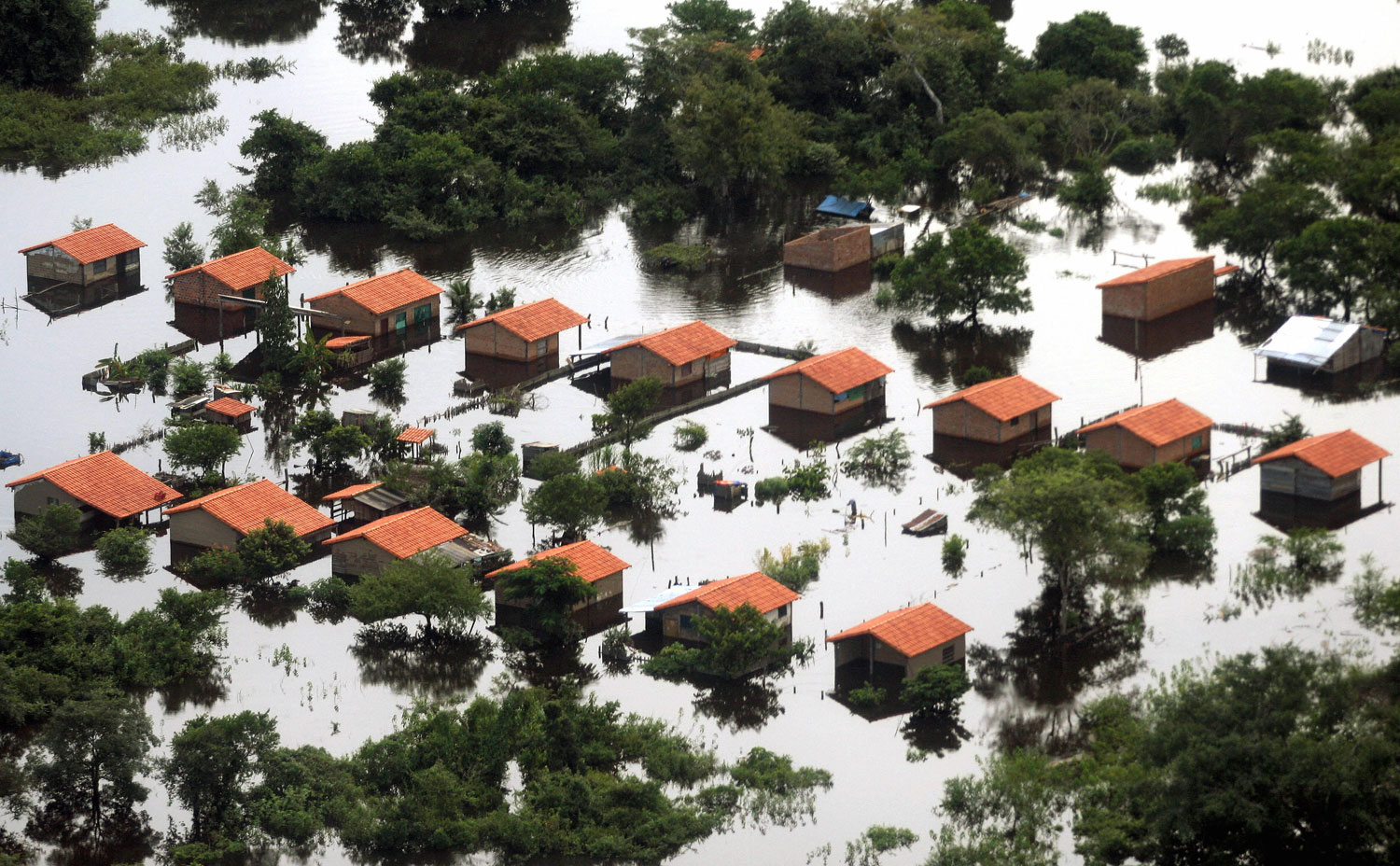 Aerial view of a flooded area in Trinidad, Beni, Bolivia on Feb. 24, 2007. Authorities say two months of rain and floods left 35 people dead, 10 unaccounted for, and affected hundreds of thousands of people. The disaster, blamed on the  El Nino  weather phenomenon, also has caused millions of dollars in material losses.