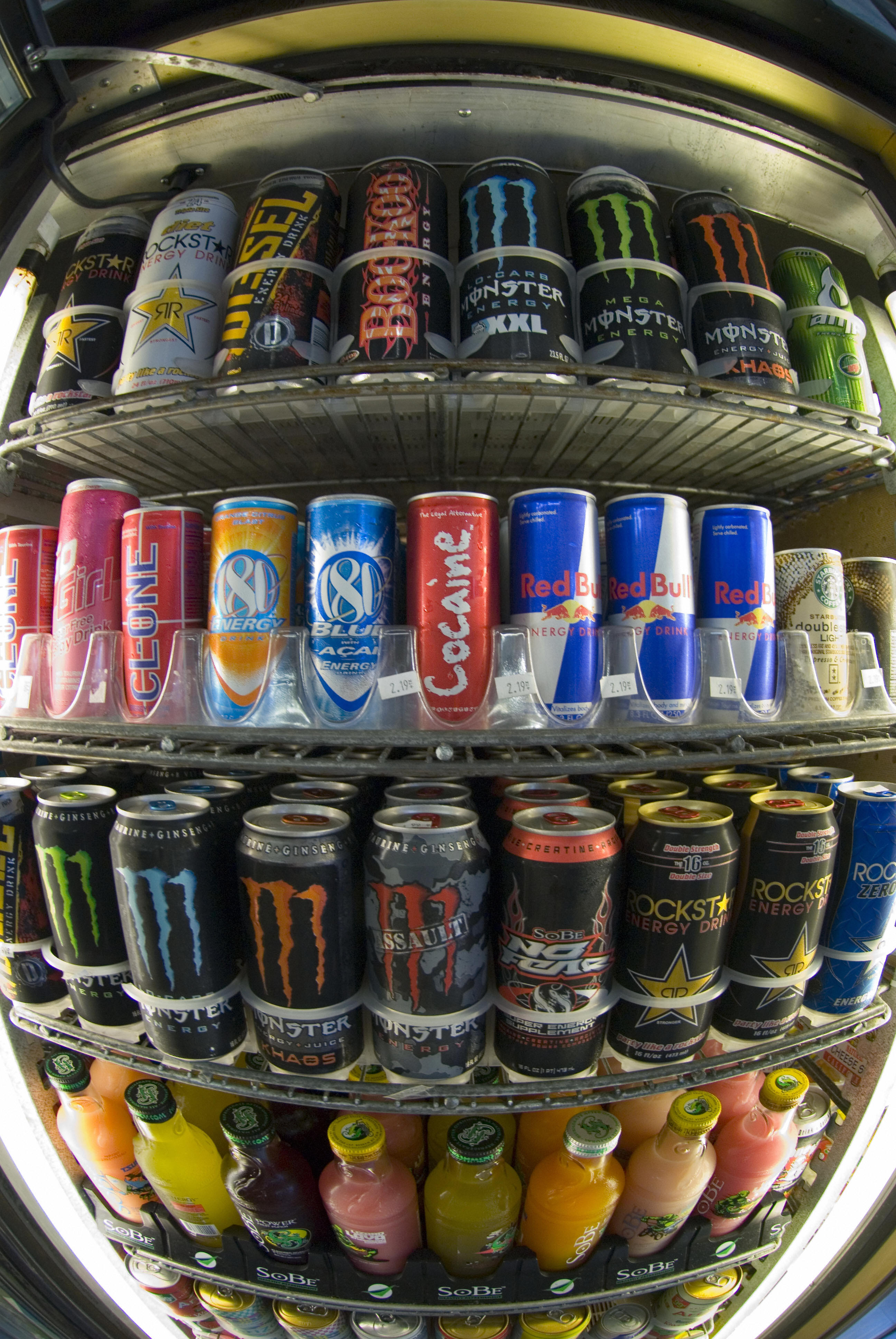 Cans of energy drinks are displayed in a store in San Diego on November 10, 2006.