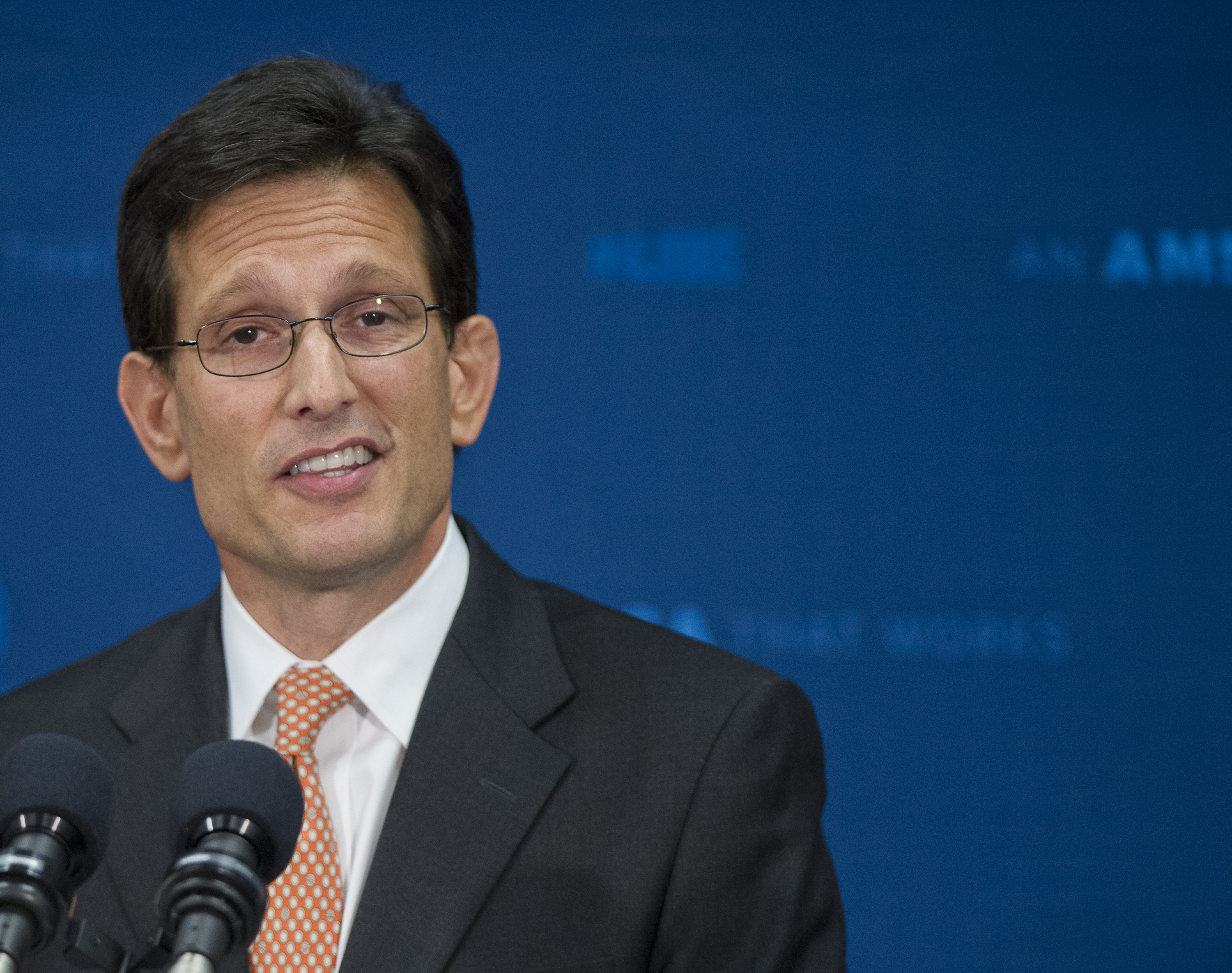 US House Majority Leader, Republican from Virginia Eric Cantor, holds a news conference where he announced his resignation effective 31 July, on Capitol Hill in Washington DC, on June 11, 2014.