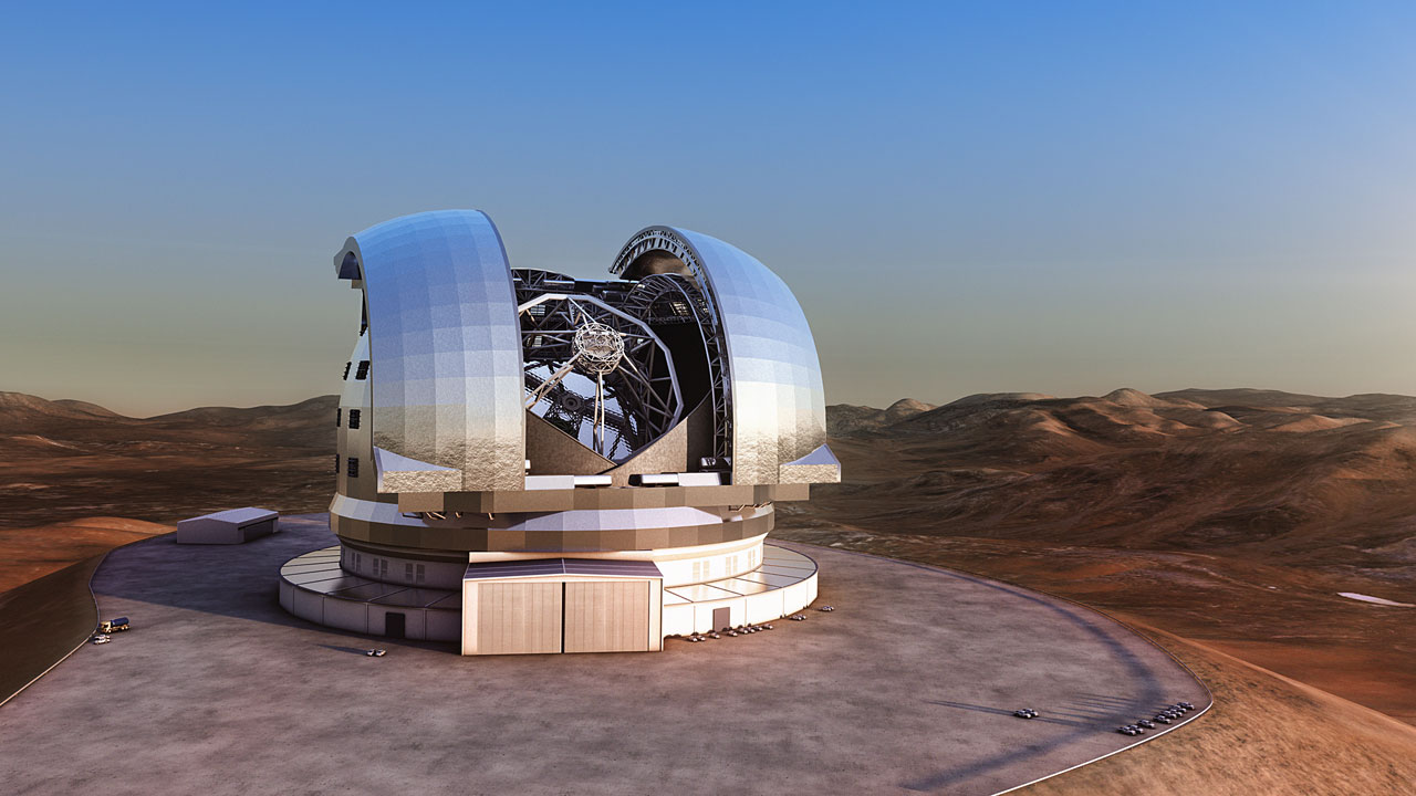 Artist's impression of the European Extremely Large Telescope (E-ELT) in its enclosure on Cerro Armazones, a 3060-metre mountaintop in Chile's Atacama Desert.