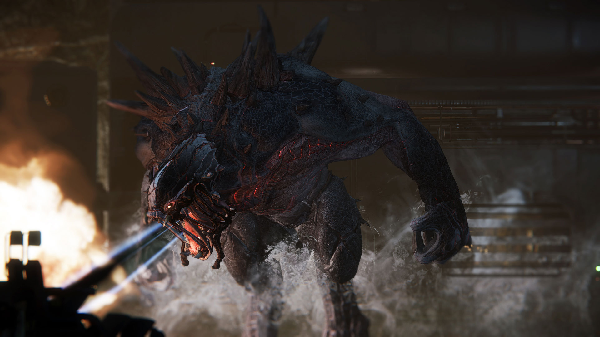 The Monster in the upcoming game Evolve demonstrating its fire-breathing capability.