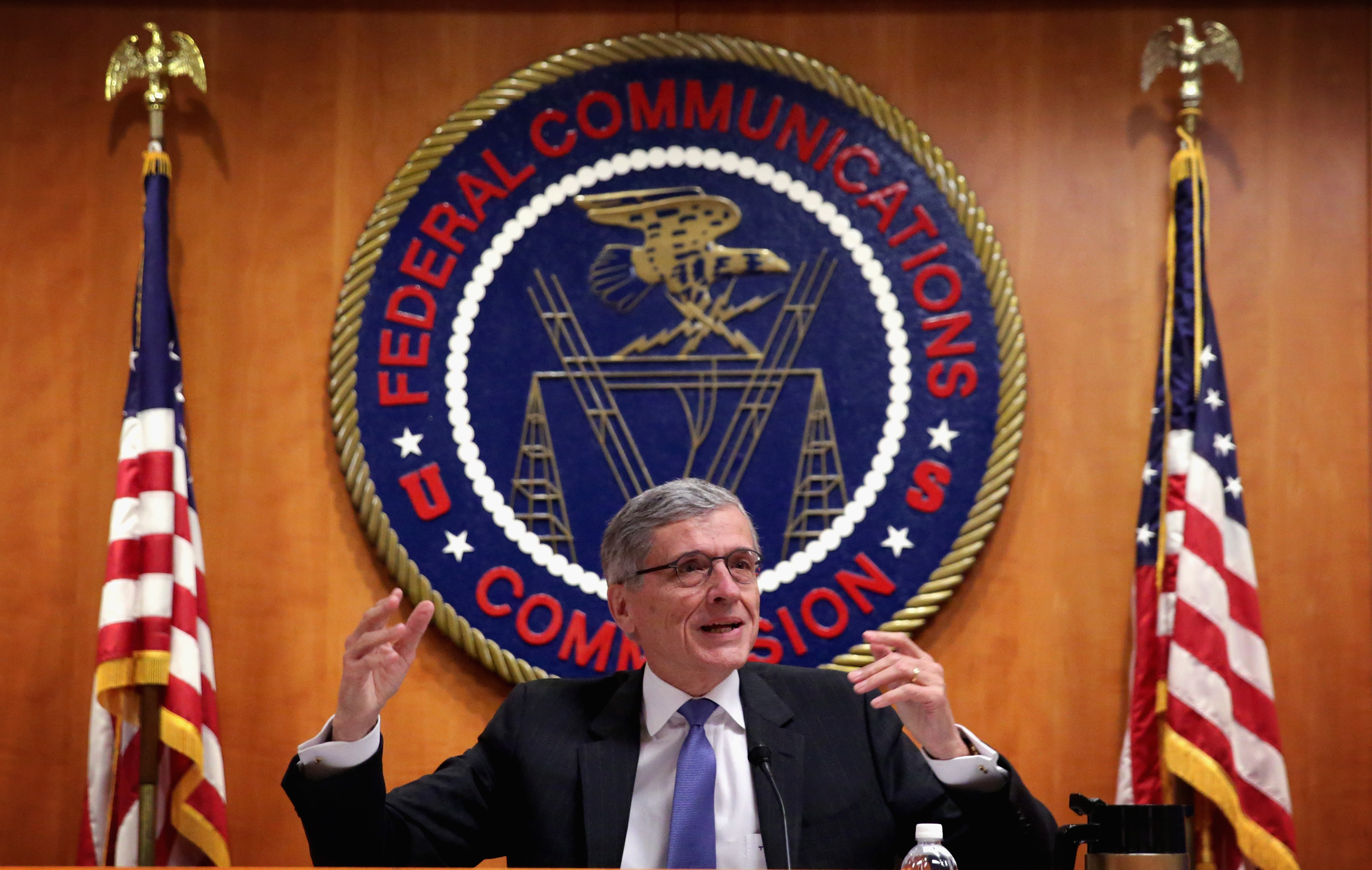 Federal Communications Commission (FCC) Chairman Tom Wheeler speaks during an open meeting to receive public comment on proposed open Internet notice of proposed rule making and spectrum auctions May 15, 2014 in Washington, DC.