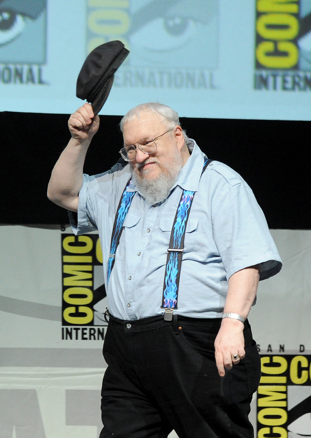Writer George R.R. Martin speaks onstage during the  Game Of Thrones  panel during Comic-Con International 2013 at the San Diego Convention Center.