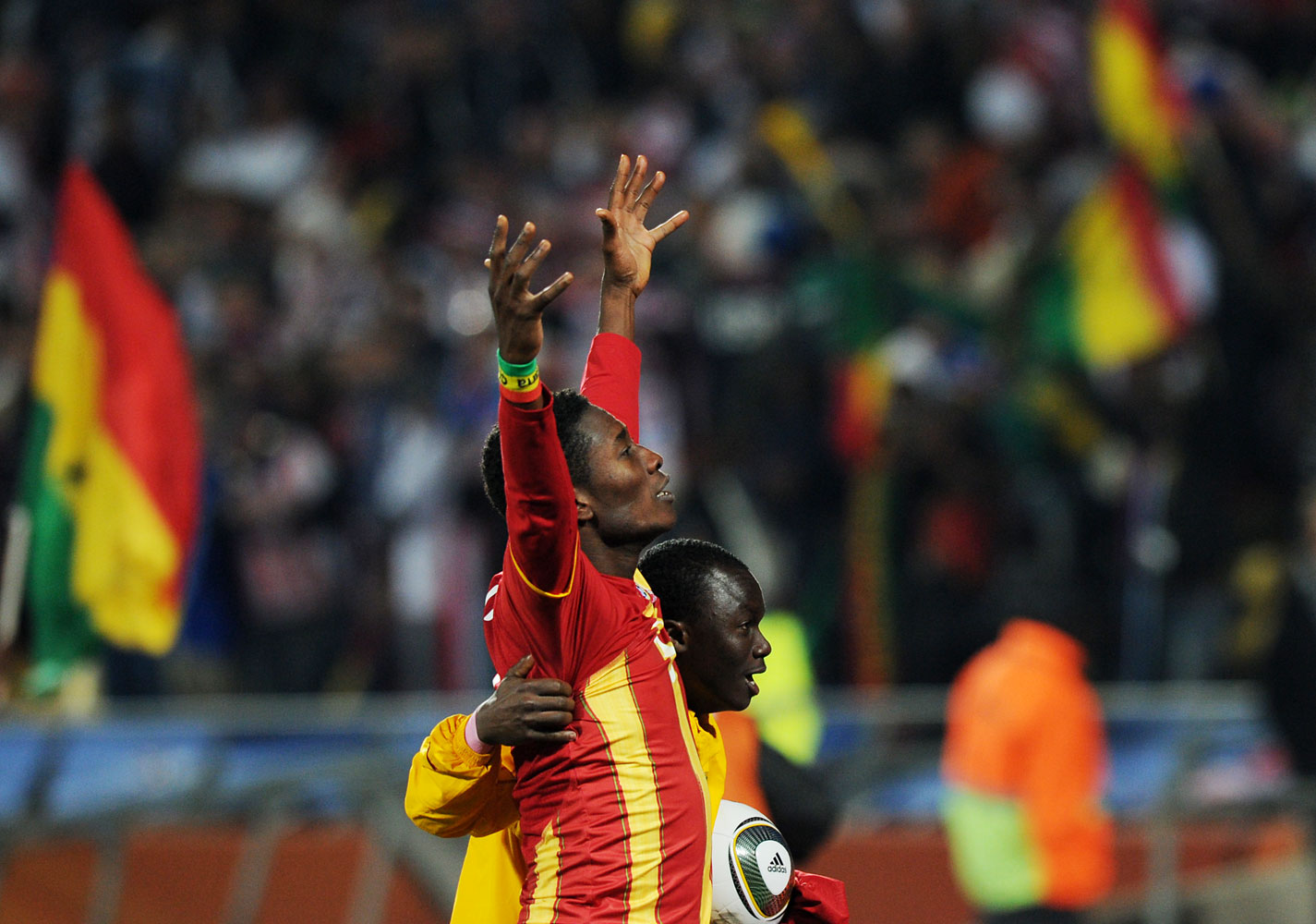 Ghana's striker Asamoah Gyan acknowledges the crowd after defeating the USA 2-1 in extra time of their 2010 World Cup round of 16 football match at Royal Bafokeng stadium in Rustenburg, South Africa, on June 26, 2010.