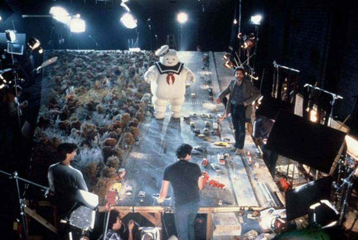 Miniatures were used to create the scene with the giant Stay Puft marshmallow man.