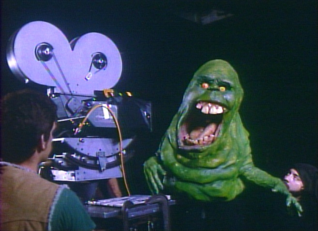 A model of Slimer, the Ghostbuster's paranormal mascot.