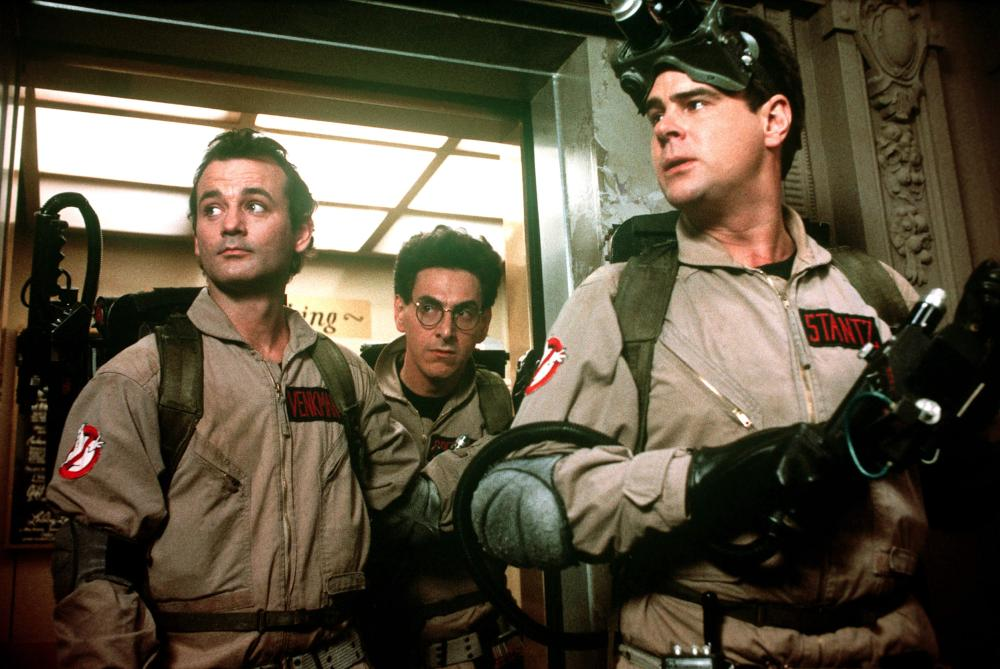 Bill Murray, Harold Ramis, Dan Aykroyd as Ghostbusters in 1984.