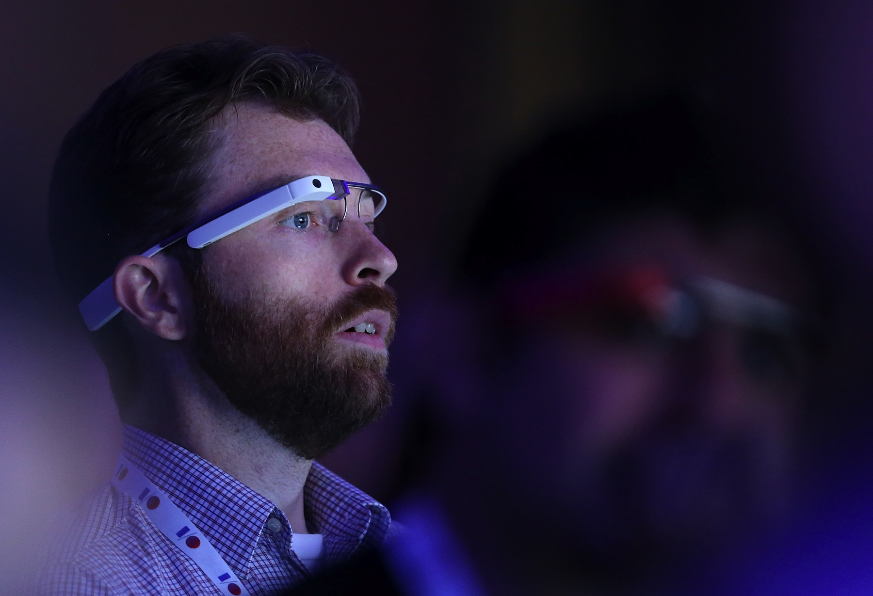 A man wearing Google Glass during the opening keynote at the Google I/O developers conference on May 15, 2013 in San Francisco, Calif.