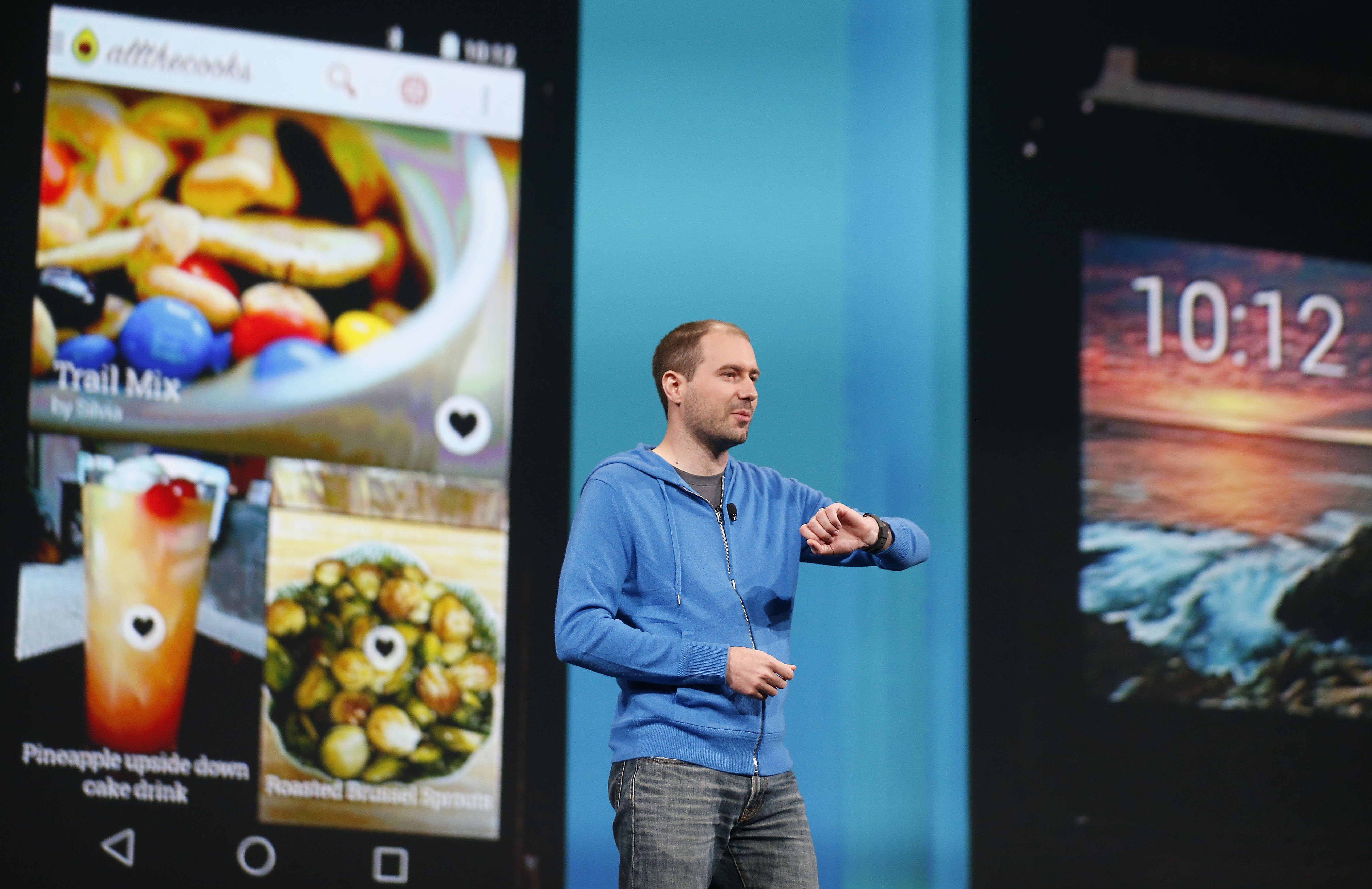 David Singleton, Director of Engineering at Android, introduces LG G Watch during the Google I/O keynote at the the Moscone Center, on Wednesday, June 25, 2014, in San Francisco.