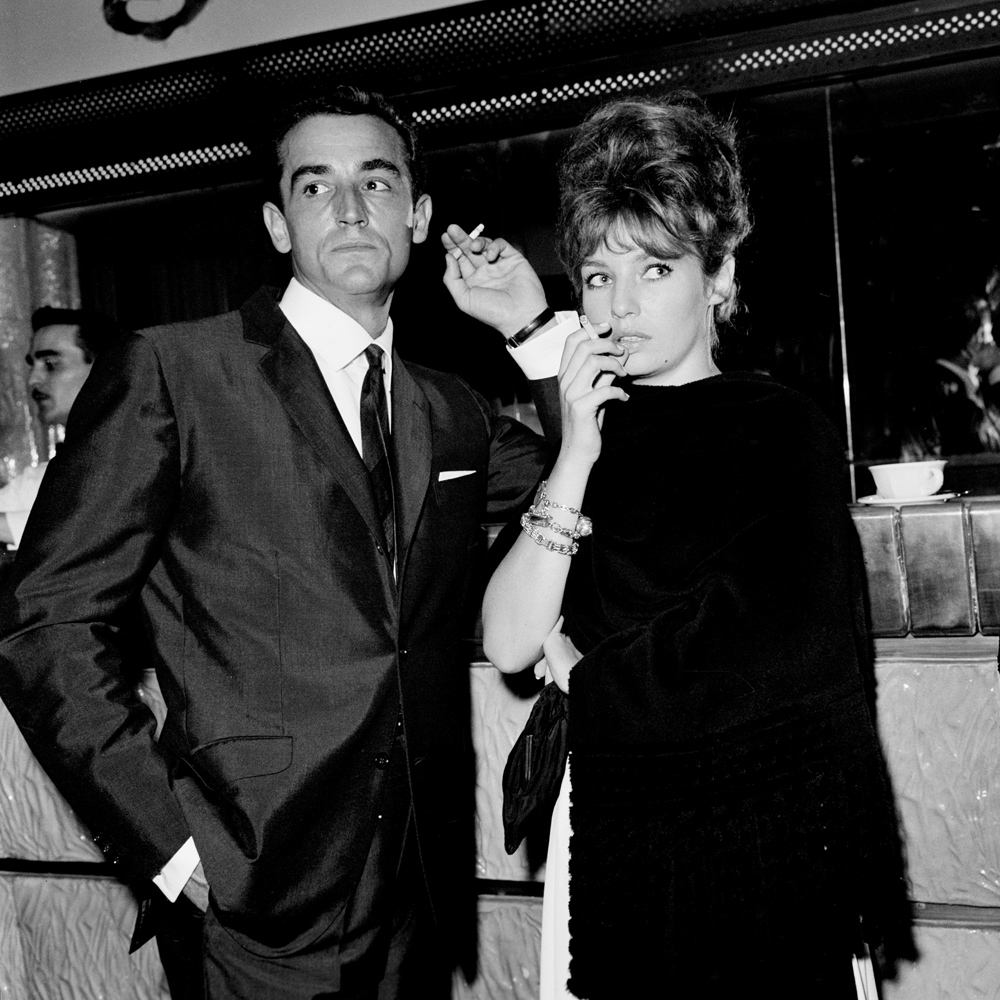 Italian actor Vittorio Gassman and then partner Danish actress Annette Stroyberg attend the Silver Mask Awards in Rome in 1961.