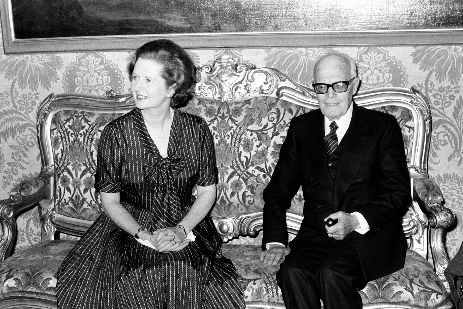 Former British Prime Minister Lady Margaret Thatcher meets Sandro Pertini, Socialist President of the Italian Republic, at the Quirinal Palace in Rome in 1979.
