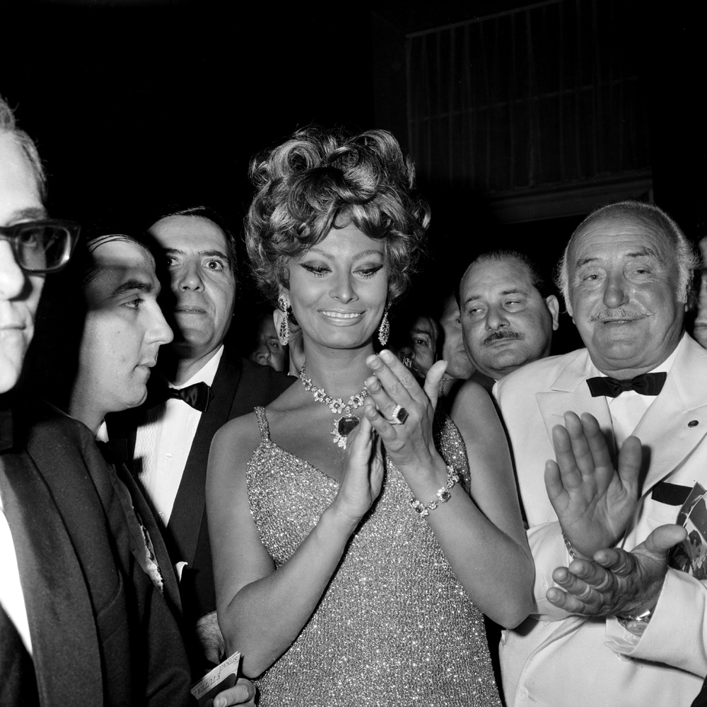 Italian actress Sophia Loren attends the film premiere of 'Once Upon a Time in The West' in Naples, Italy in 1967.